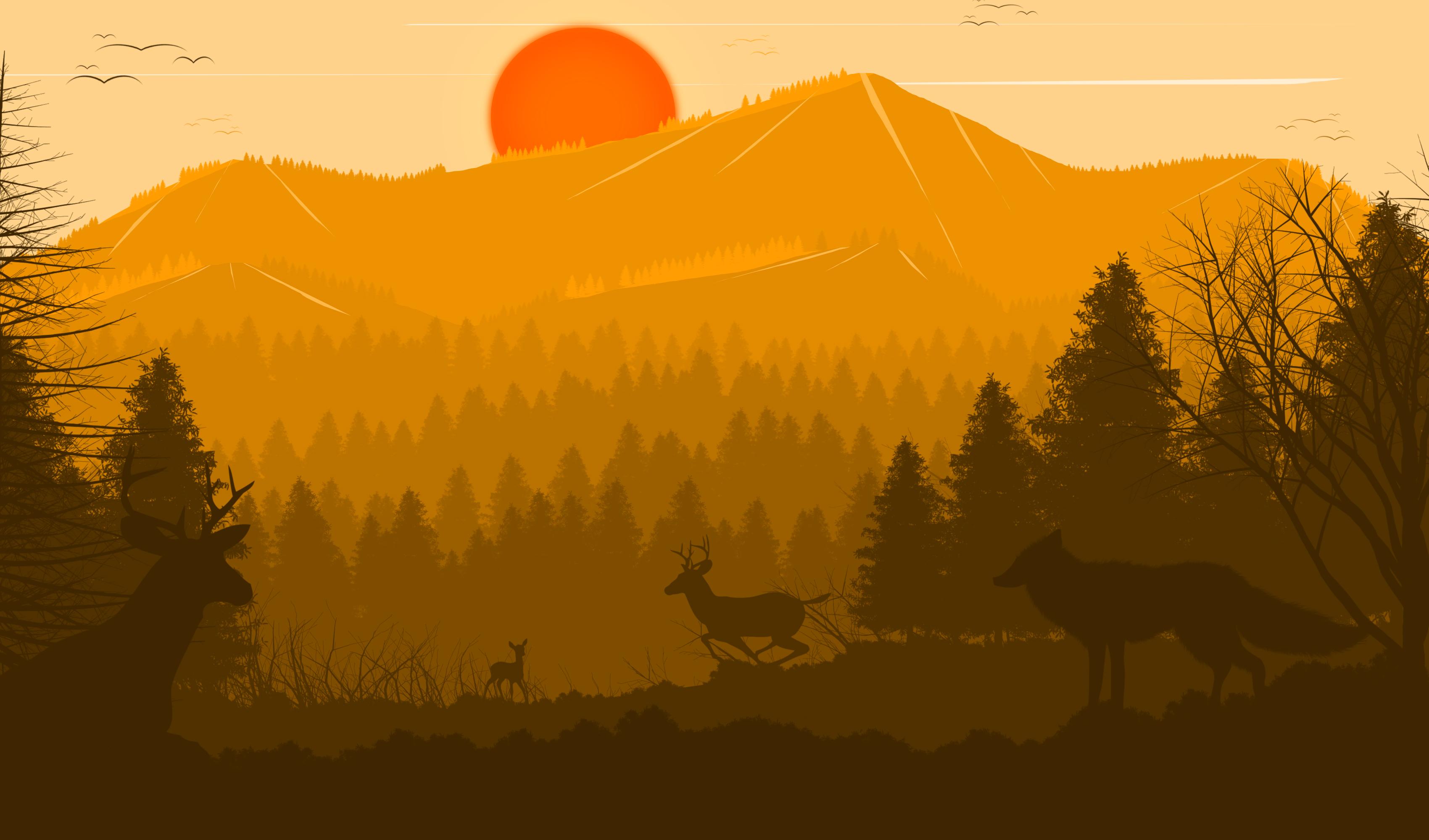 Misty Deer 4k Hd Desktop Wallpaper For 4k Ultra Hd Tv: Deer Forest Fox Sun Red Trees Birds 4k, HD Artist, 4k
