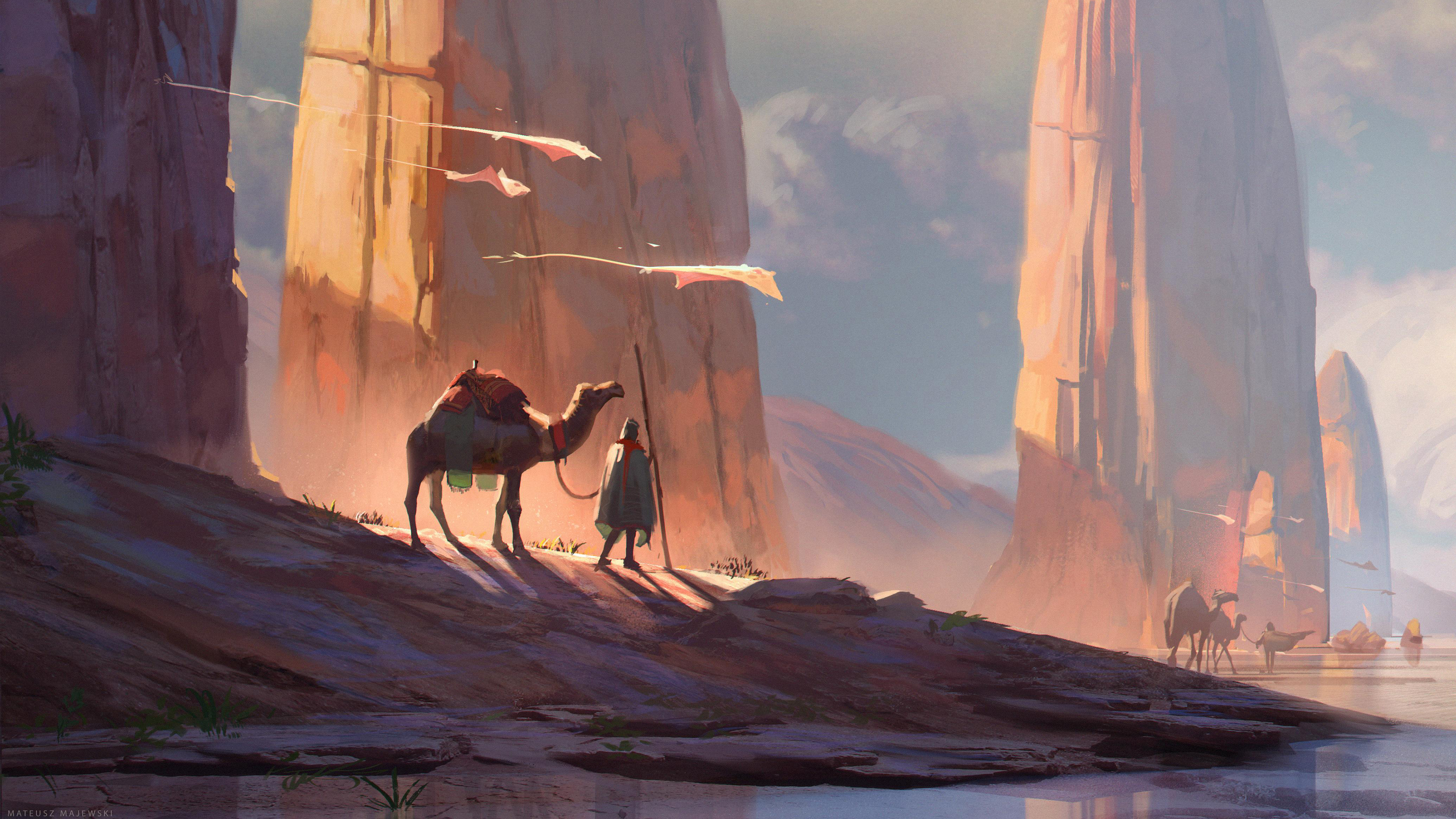 Digital Art Camel Desert 4k Hd Artist 4k Wallpapers