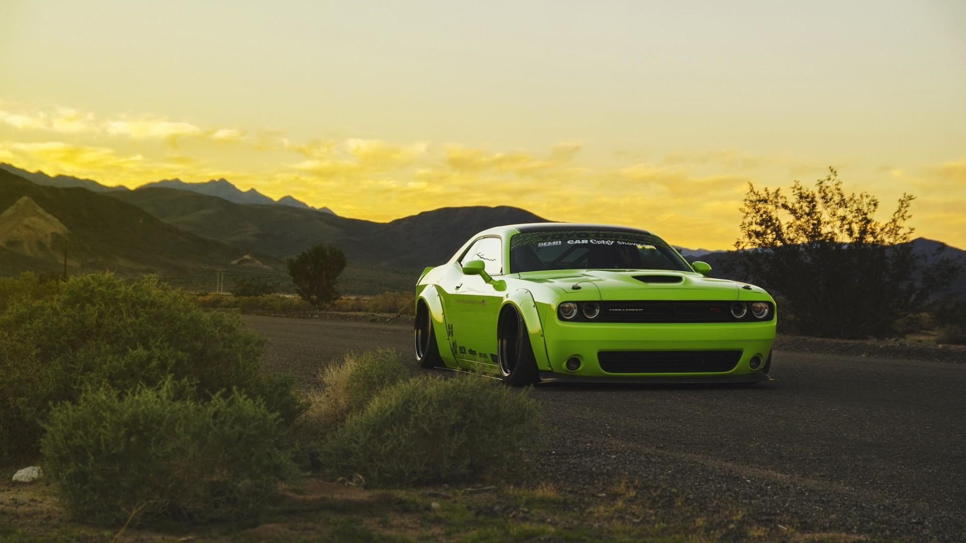 Dodge challenger green hd cars 4k wallpapers images - Dodge car 4k wallpaper ...