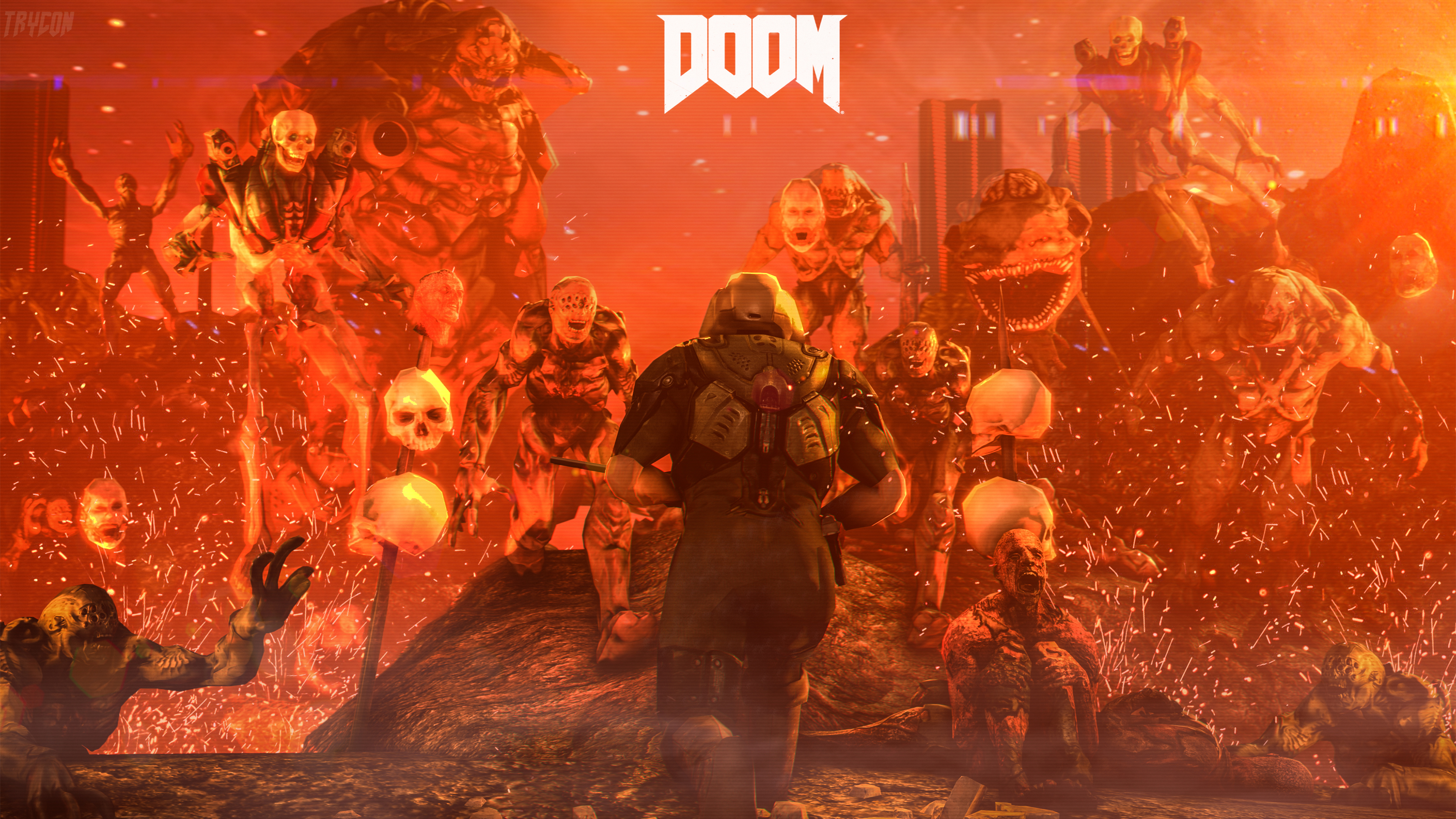 doom 4 digital art hd games 4k wallpapers images