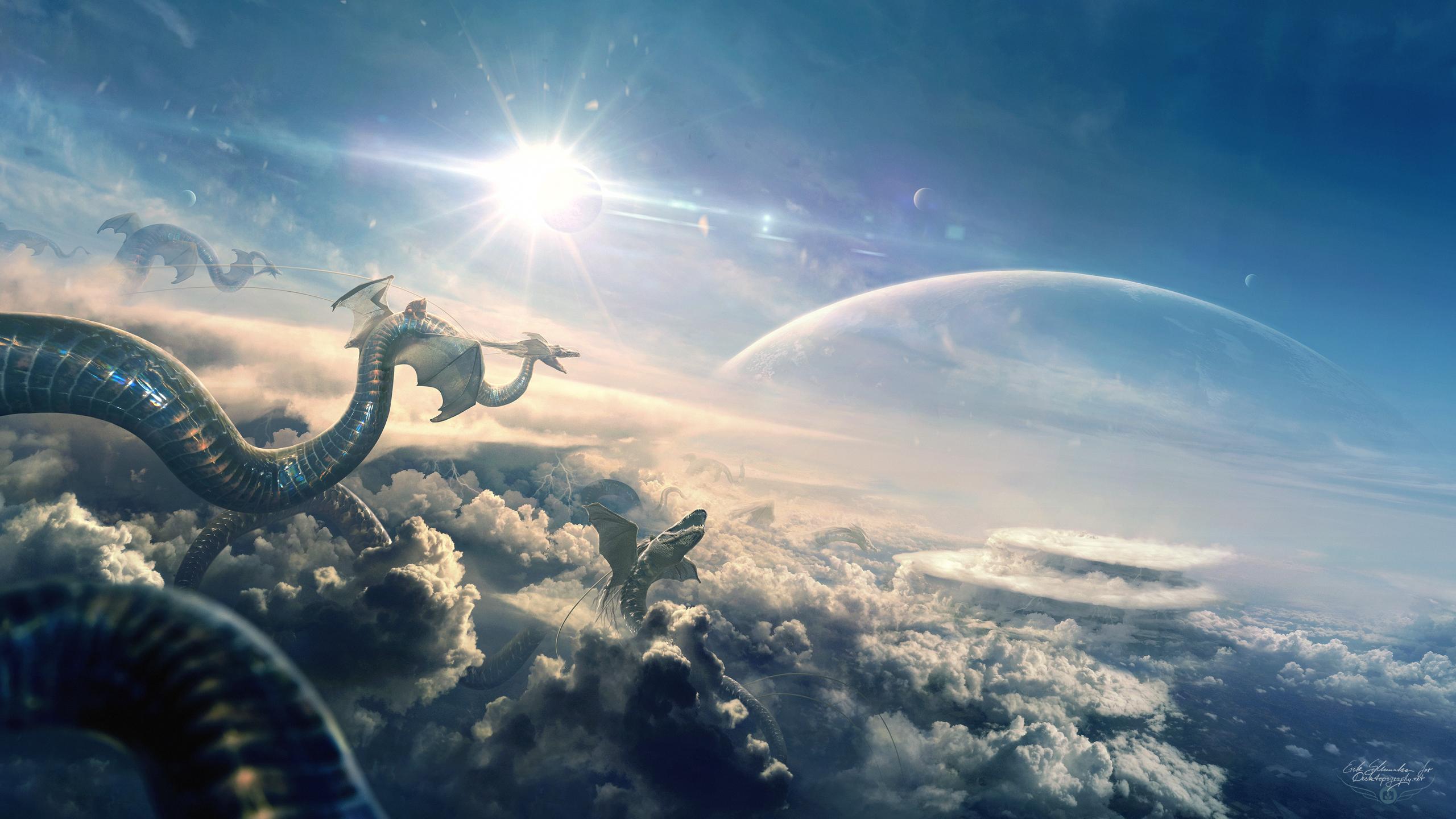 Dragon Flight Eclipse Hd Artist 4k Wallpapers Images
