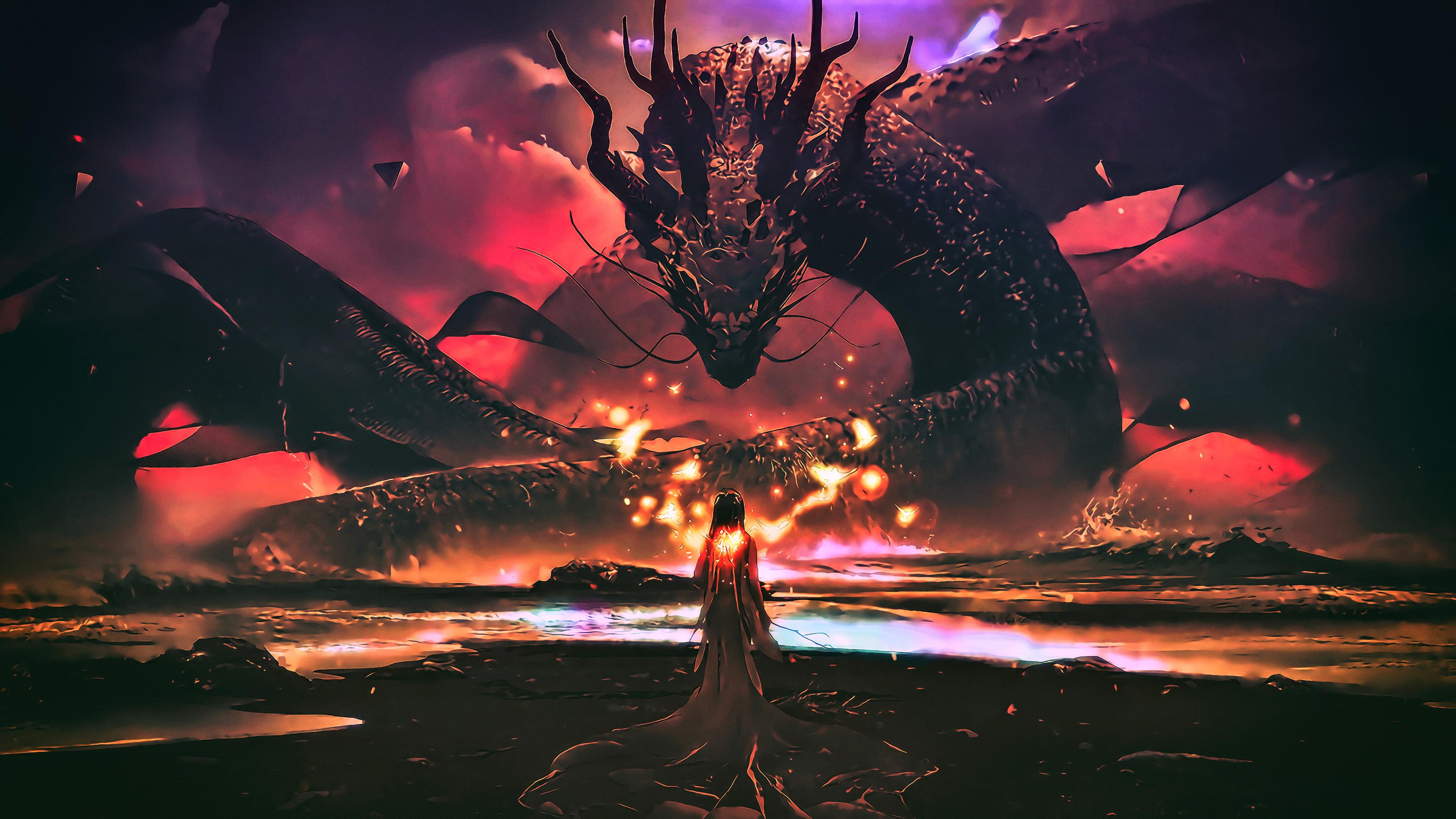 Dragon goddess artwork fantasy hd artist 4k wallpapers - Fantasy wallpaper digital art ...