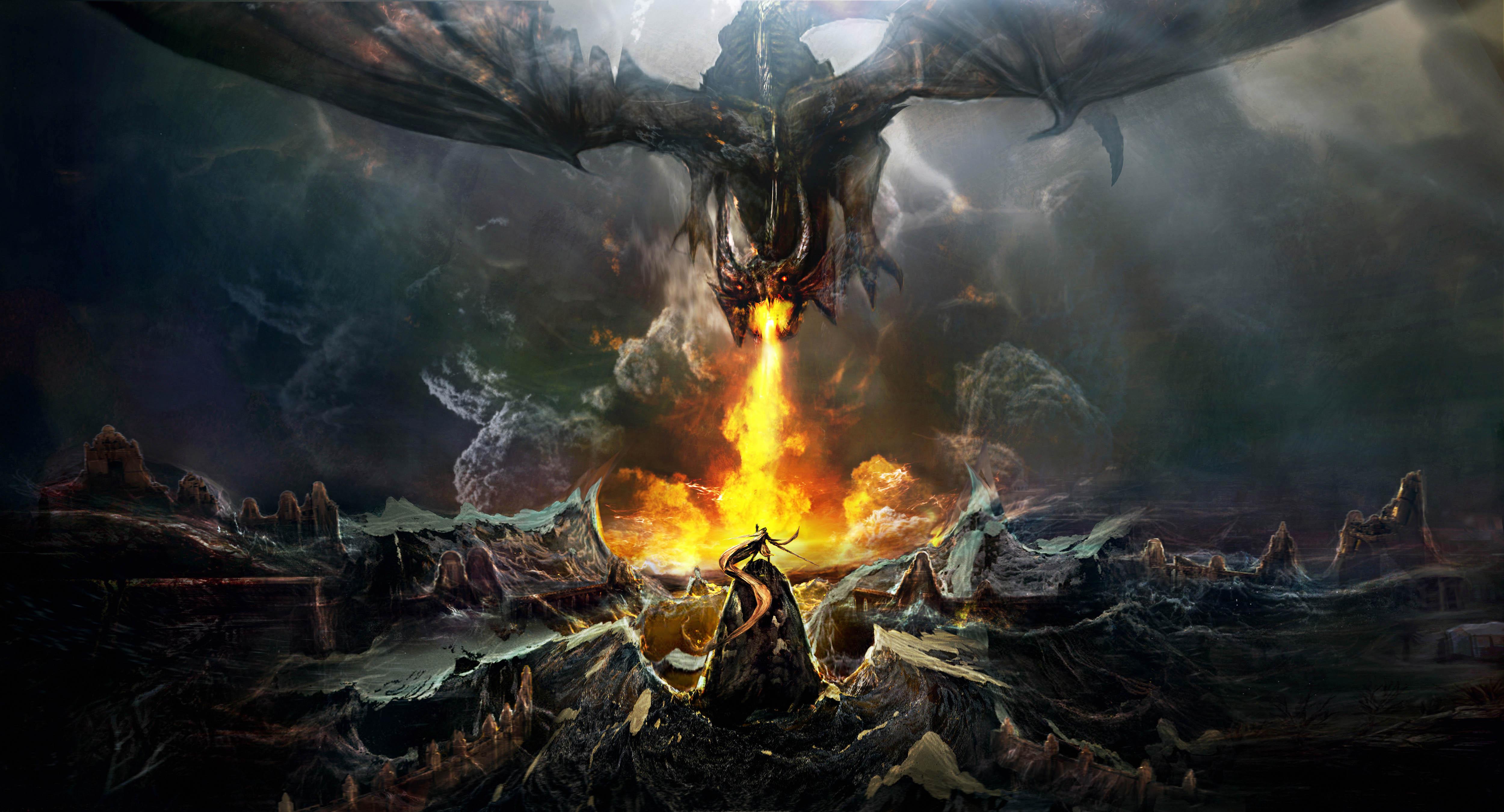 Dragon Throwing Fire On Warrior, HD Artist, 4k Wallpapers ...