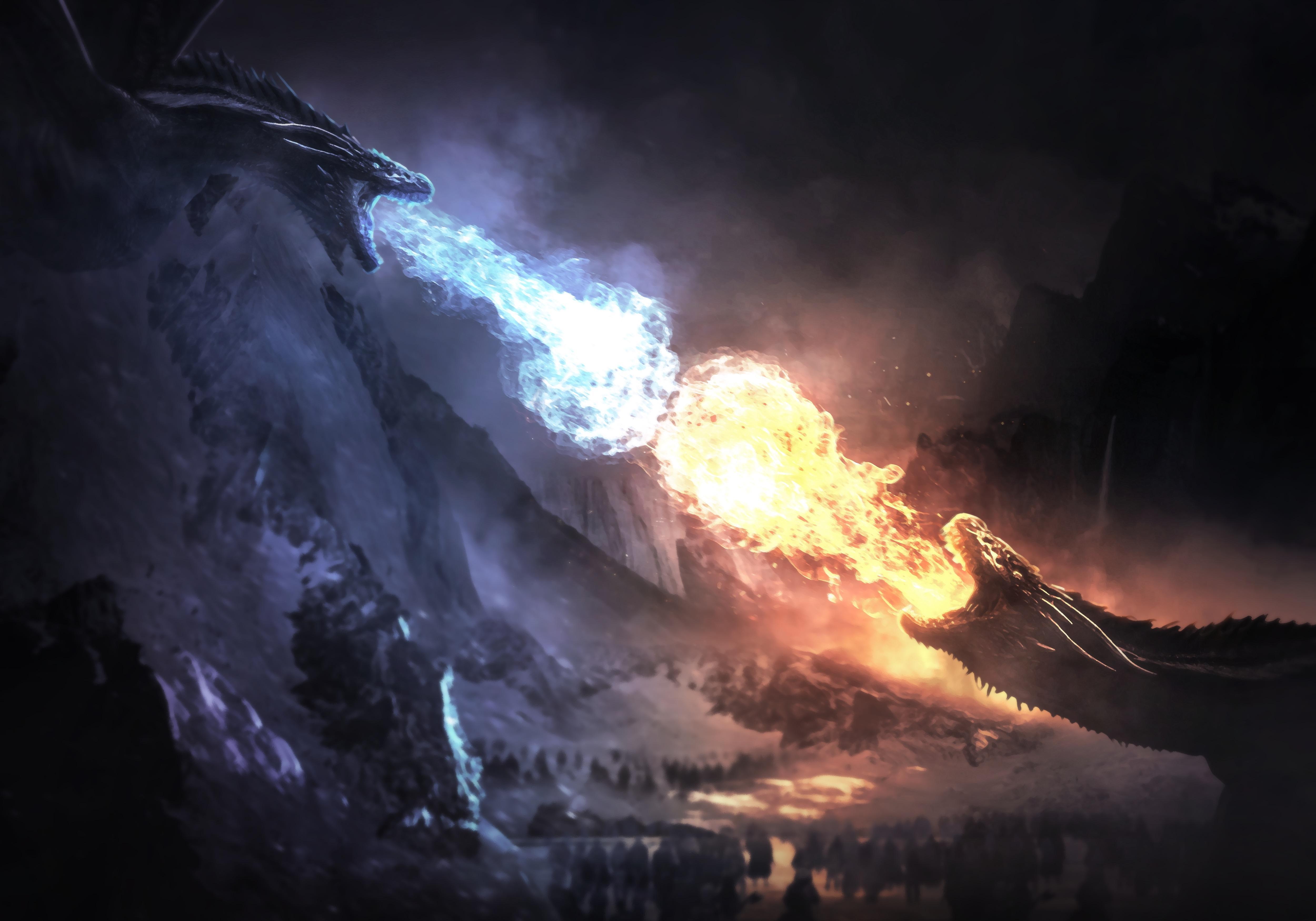 2048x1152 Dragons Fight Game Of Thrones Season 8 2048x1152