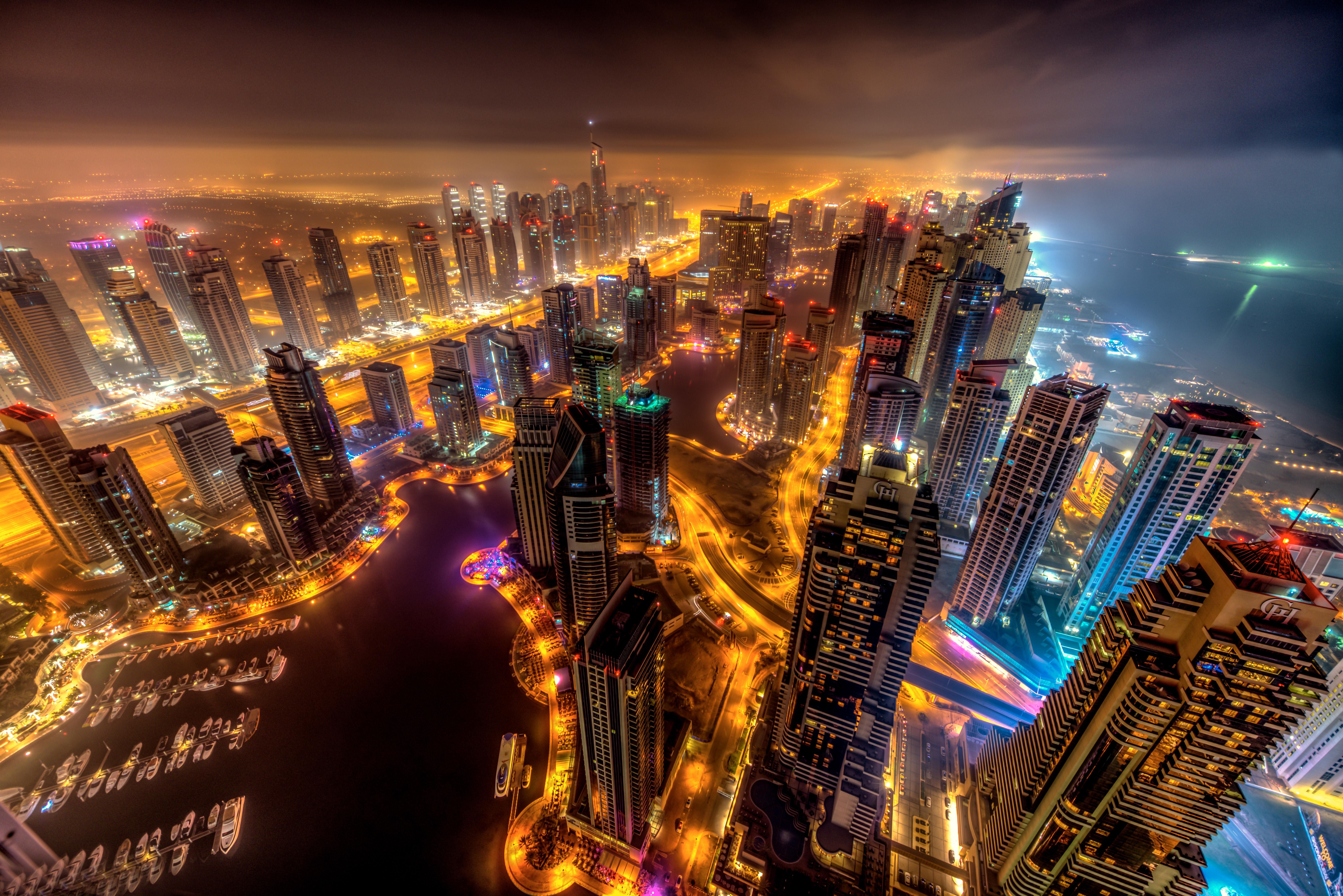 Dubai Buildings Night Lights Top View 8k Hd World 4k