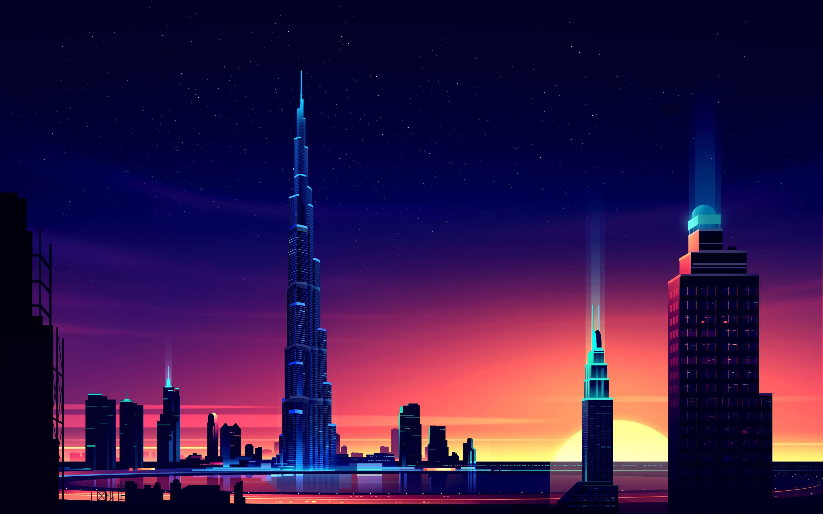 dubai burj khalifa minimalist, hd artist, 4k wallpapers, images