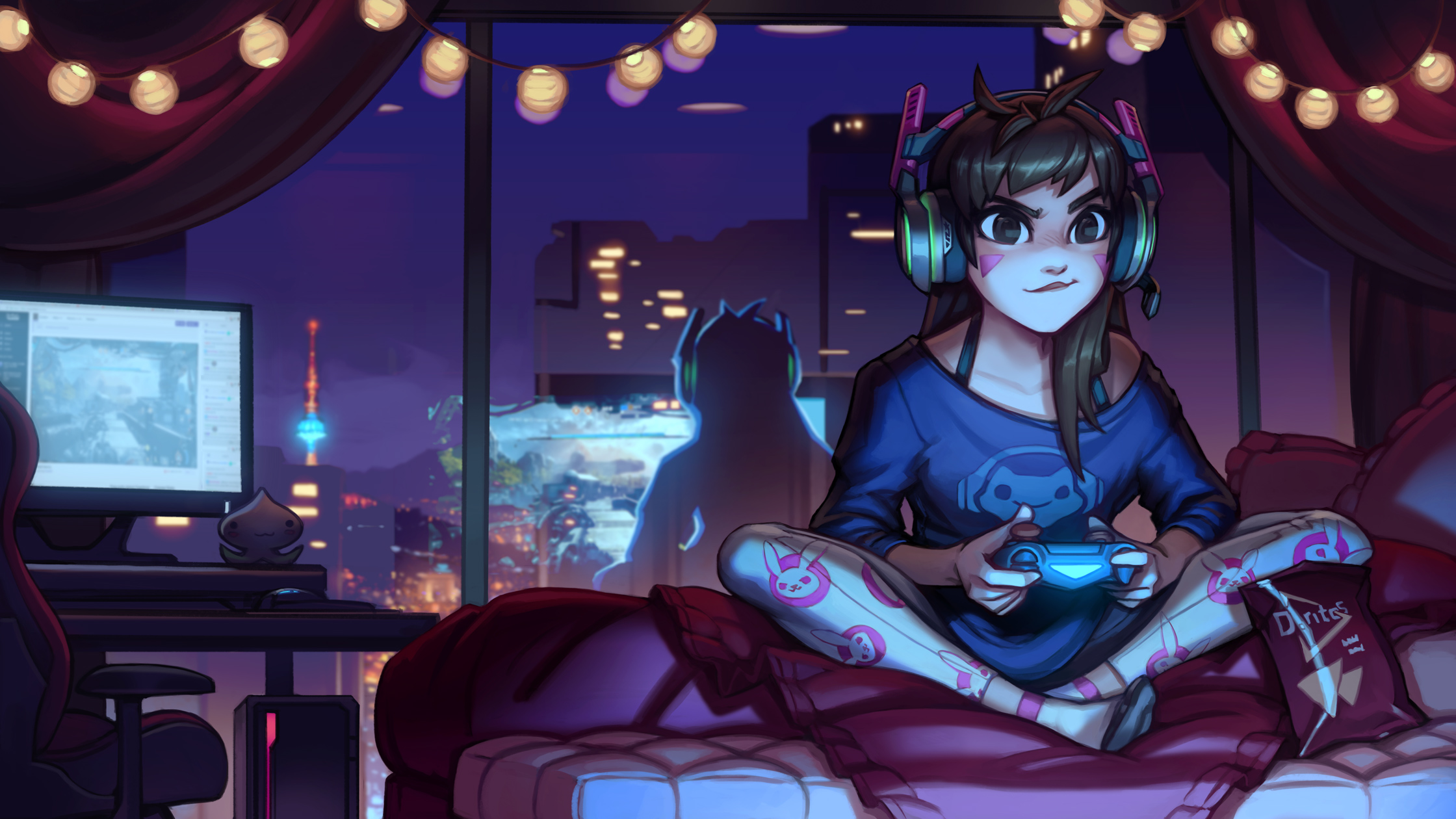 dva overwatch cute artwork hd games 4k wallpapers images