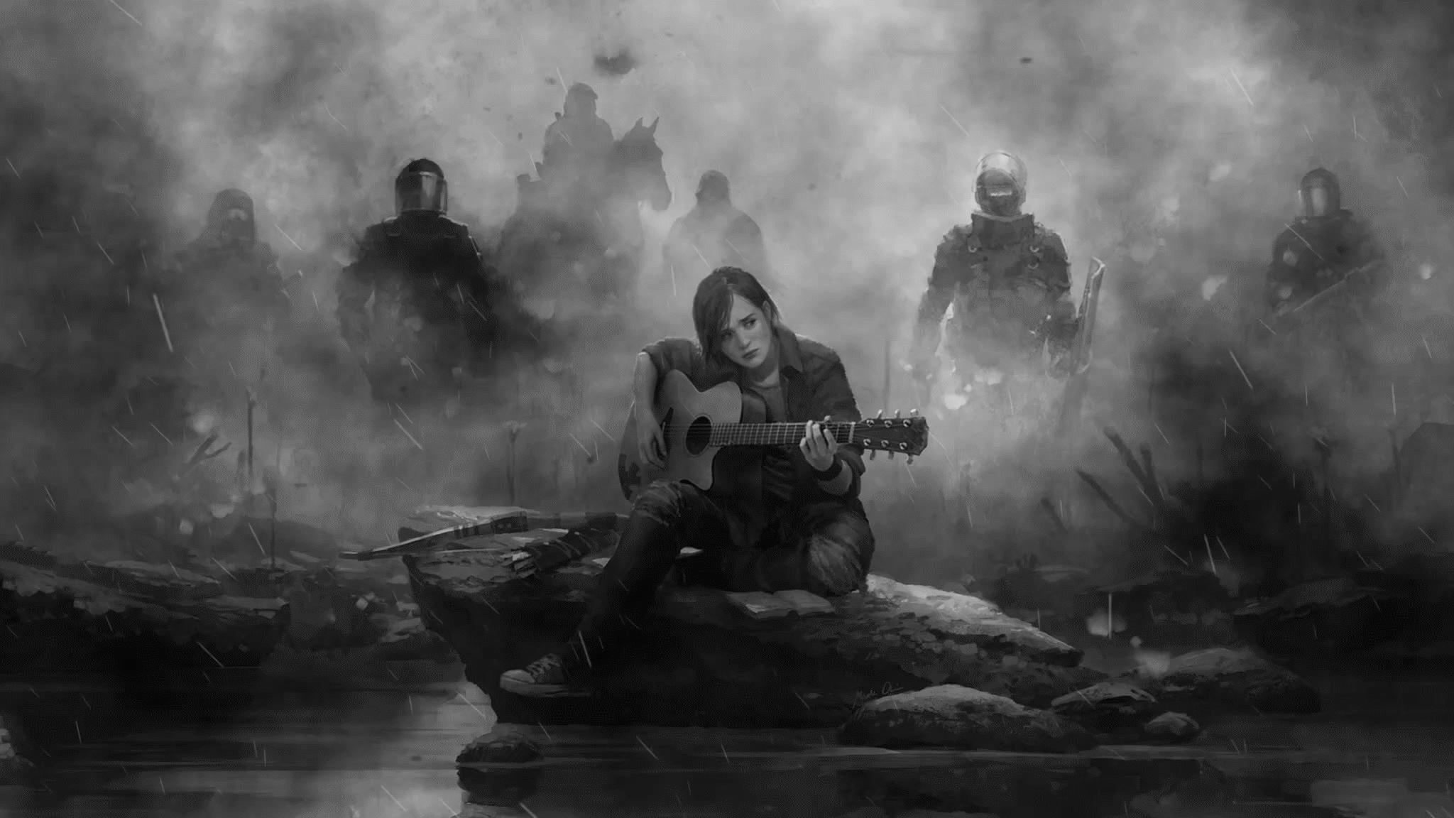 Ellie The Last Of Us Part 2 Guitar Monochrome Hd Games 4k
