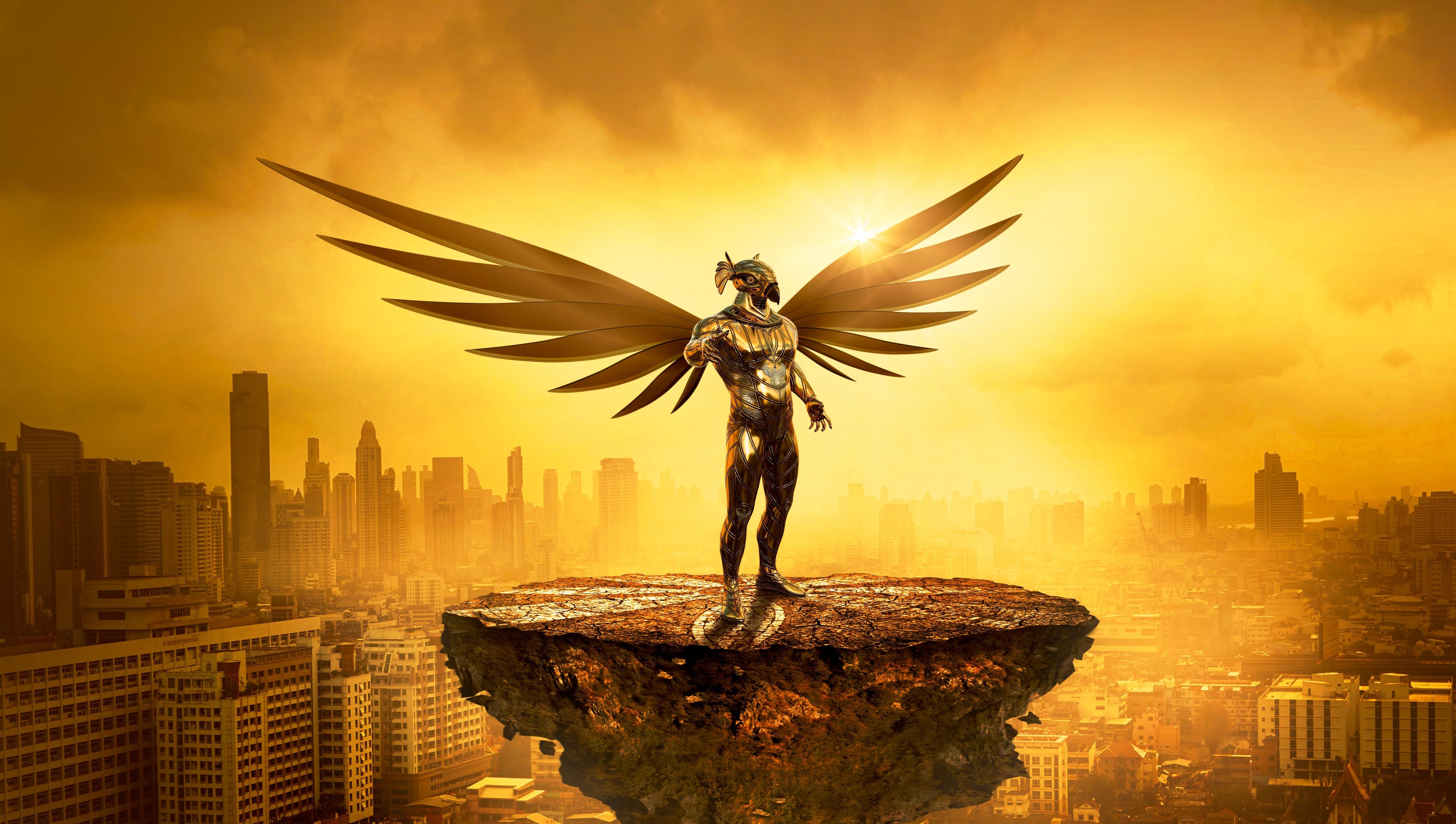 Fantasy Angel Gold Digital Art 5k, HD Artist, 4k ...