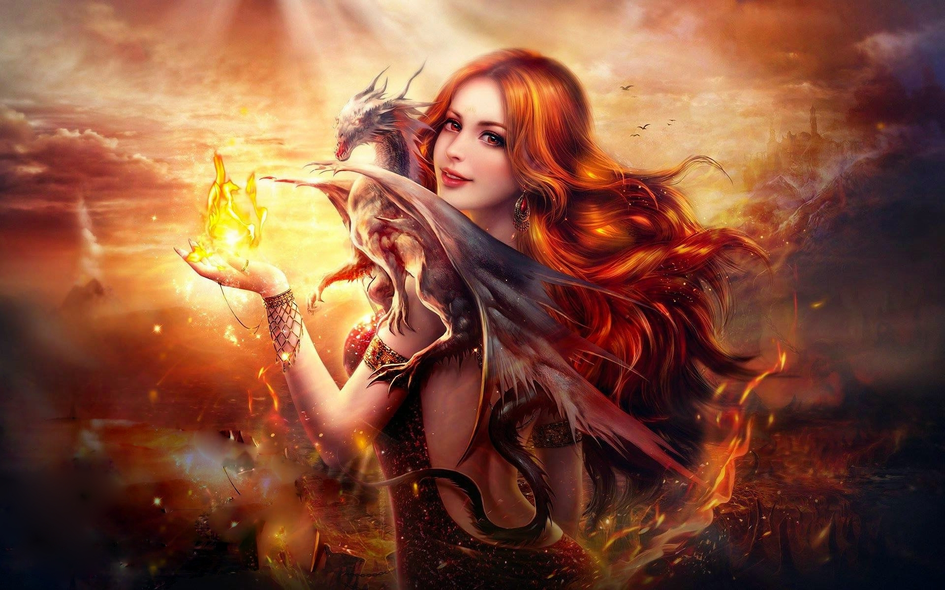 fantasy girl dragon fire, hd fantasy girls, 4k wallpapers, images