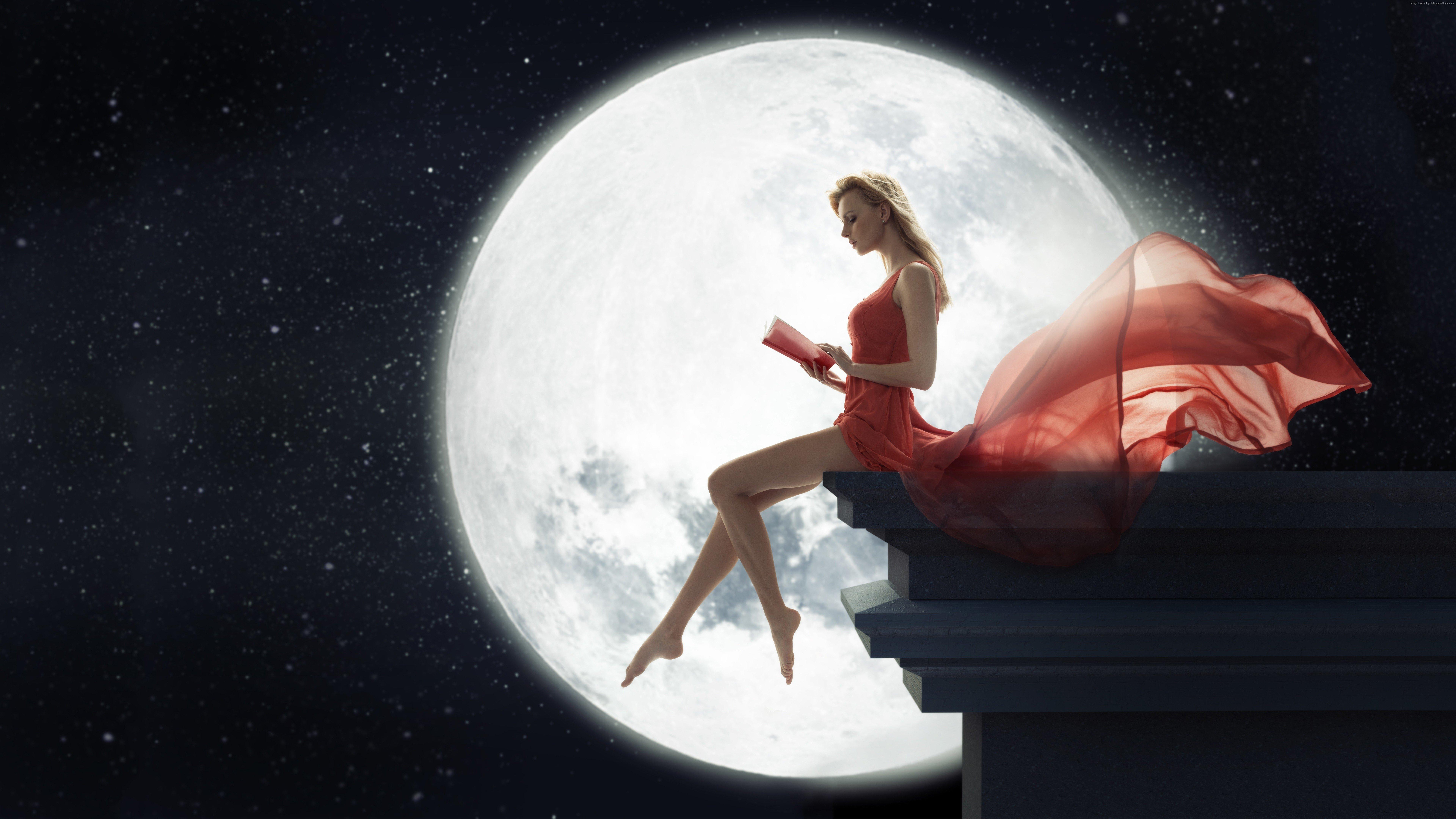 Fantasy Girl Sitting On Roof Reading Book Moon Hd Fantasy