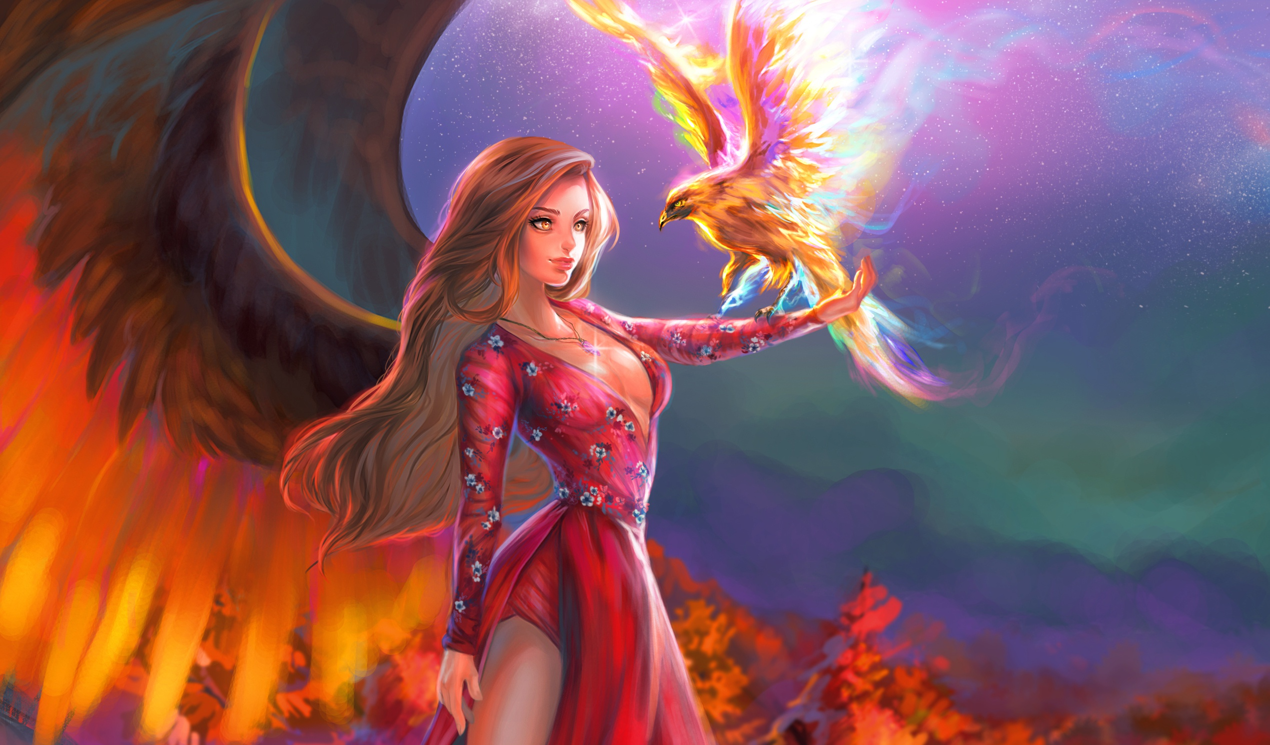 Fantasy Girl With Phoenix Hd Fantasy Girls 4k Wallpapers Images