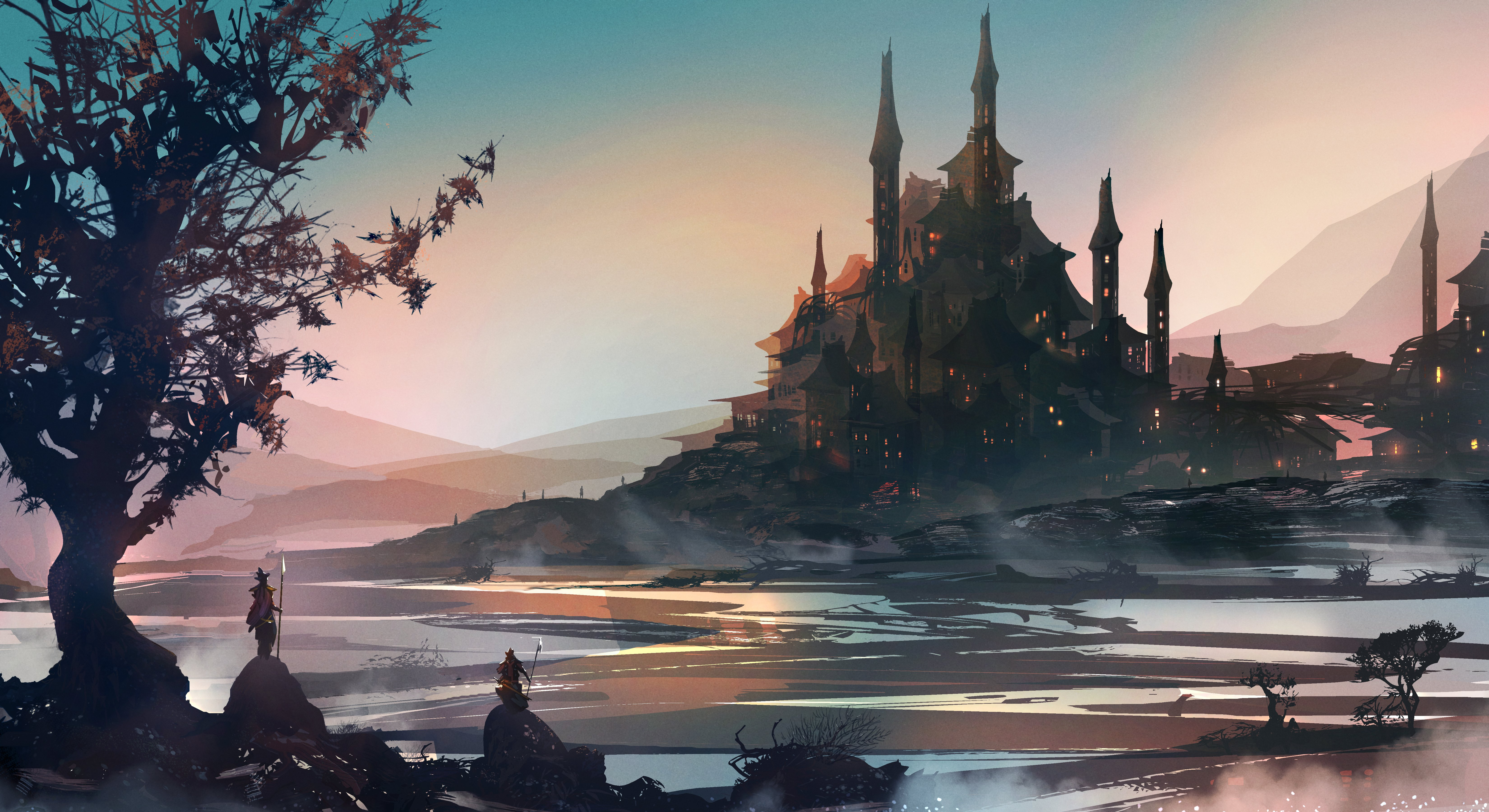 Fantasy knight art background 5k hd artist 4k wallpapers images backgrounds photos and pictures - Fantasy background ...