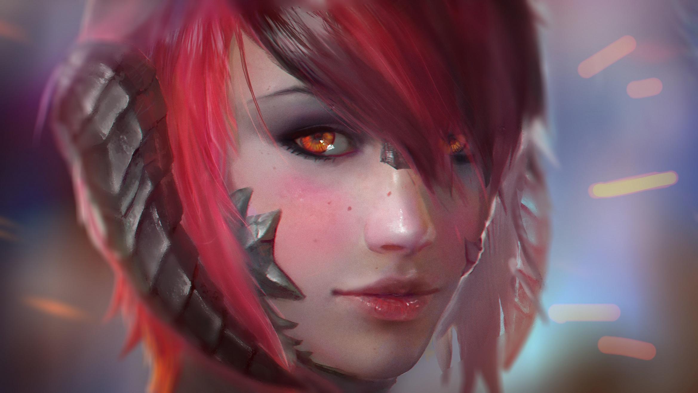 fantasy short hair orange eyes girl, hd fantasy girls, 4k wallpapers