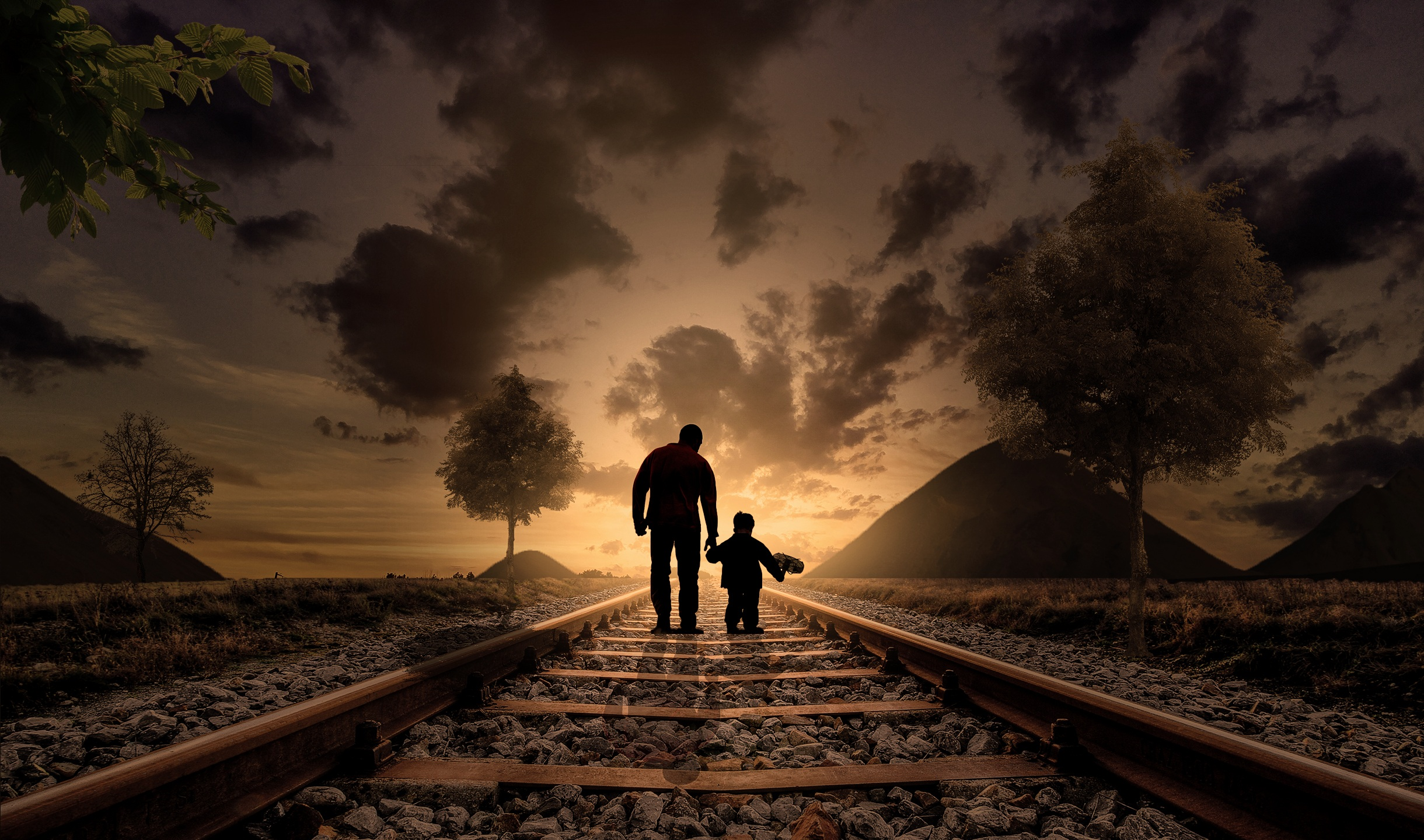 Father Son Walking Railraod Hd Photography 4k Wallpapers