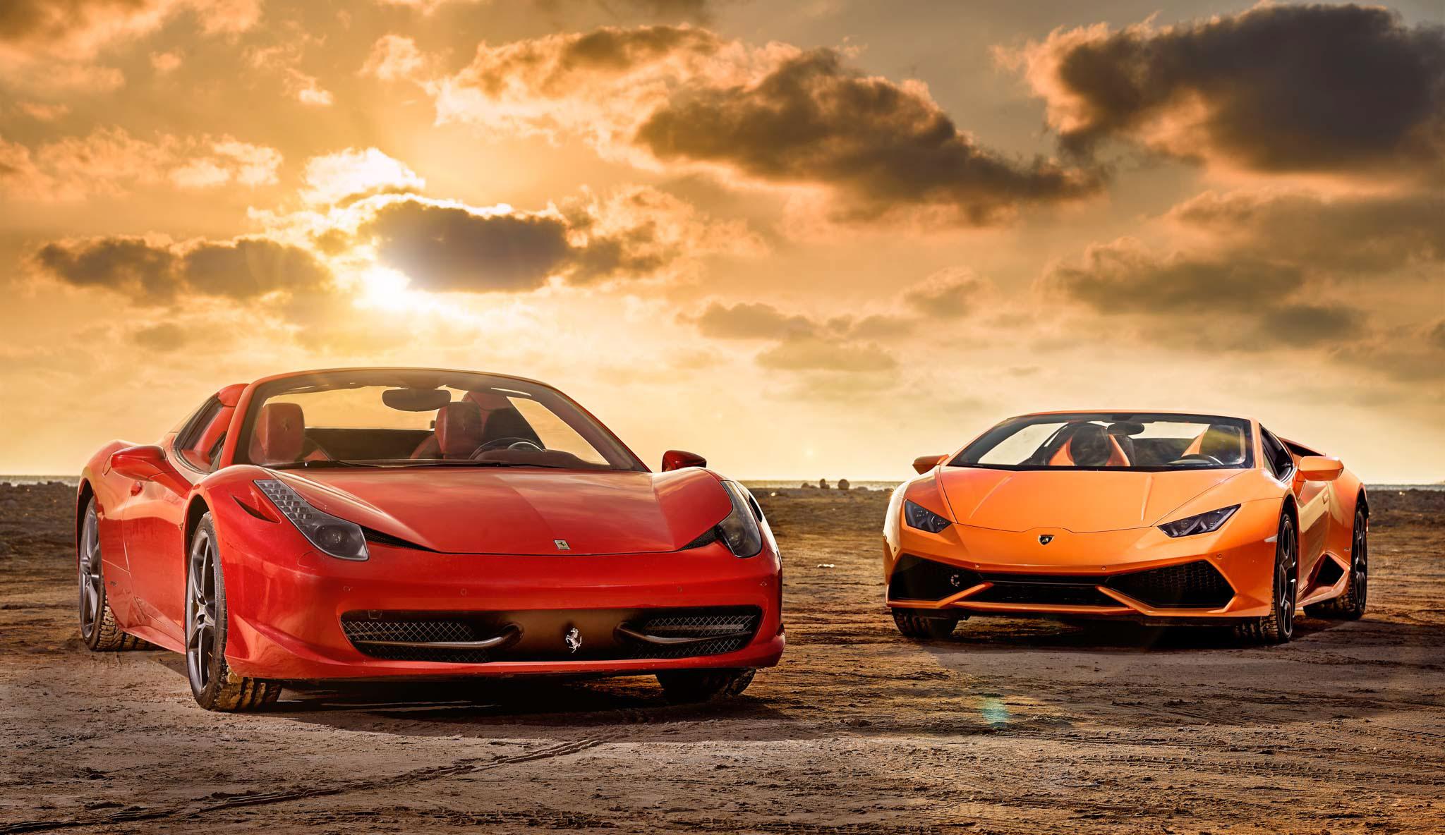 Ferrari 488 And Lamborghini Huracan, HD Cars, 4k Wallpapers