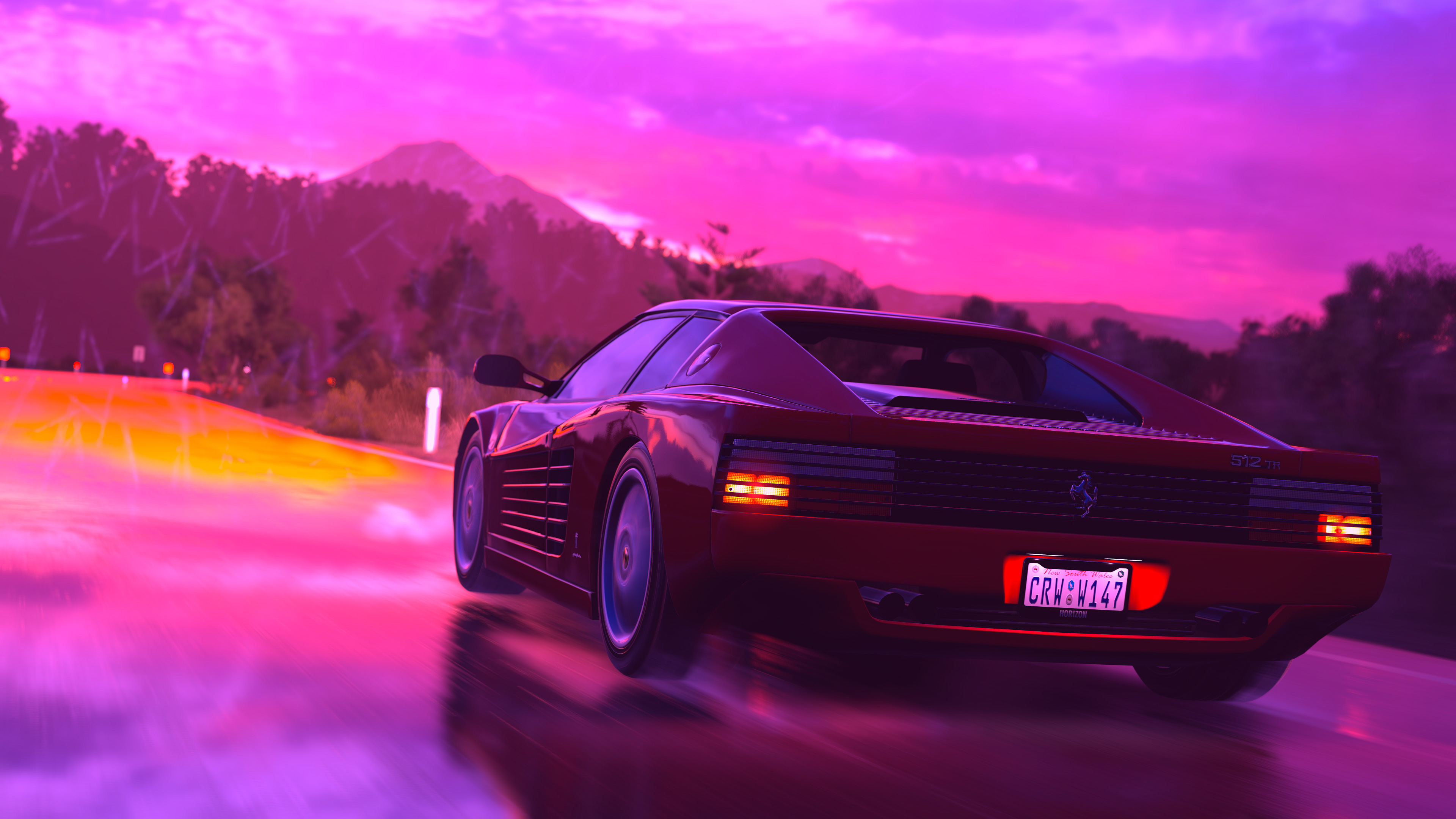 Ferrari Sports Car Retrowave Art 4k, HD Artist, 4k ...