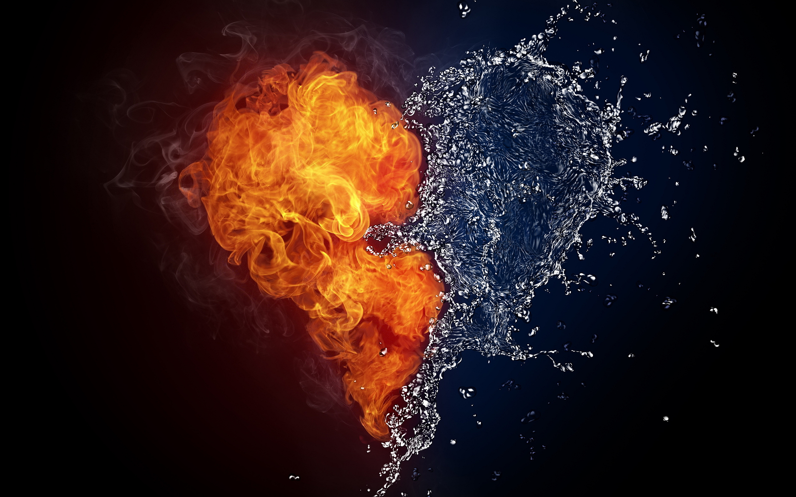 720x1280 Fire Water Heart Art Moto Gx Xperia Z1z3 Compactgalaxy