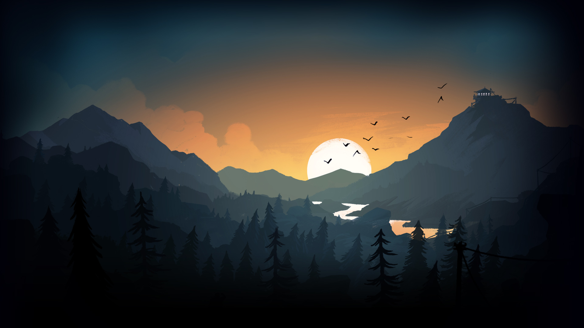 firewatch sun trees mountains birds lake evening, hd artist, 4k