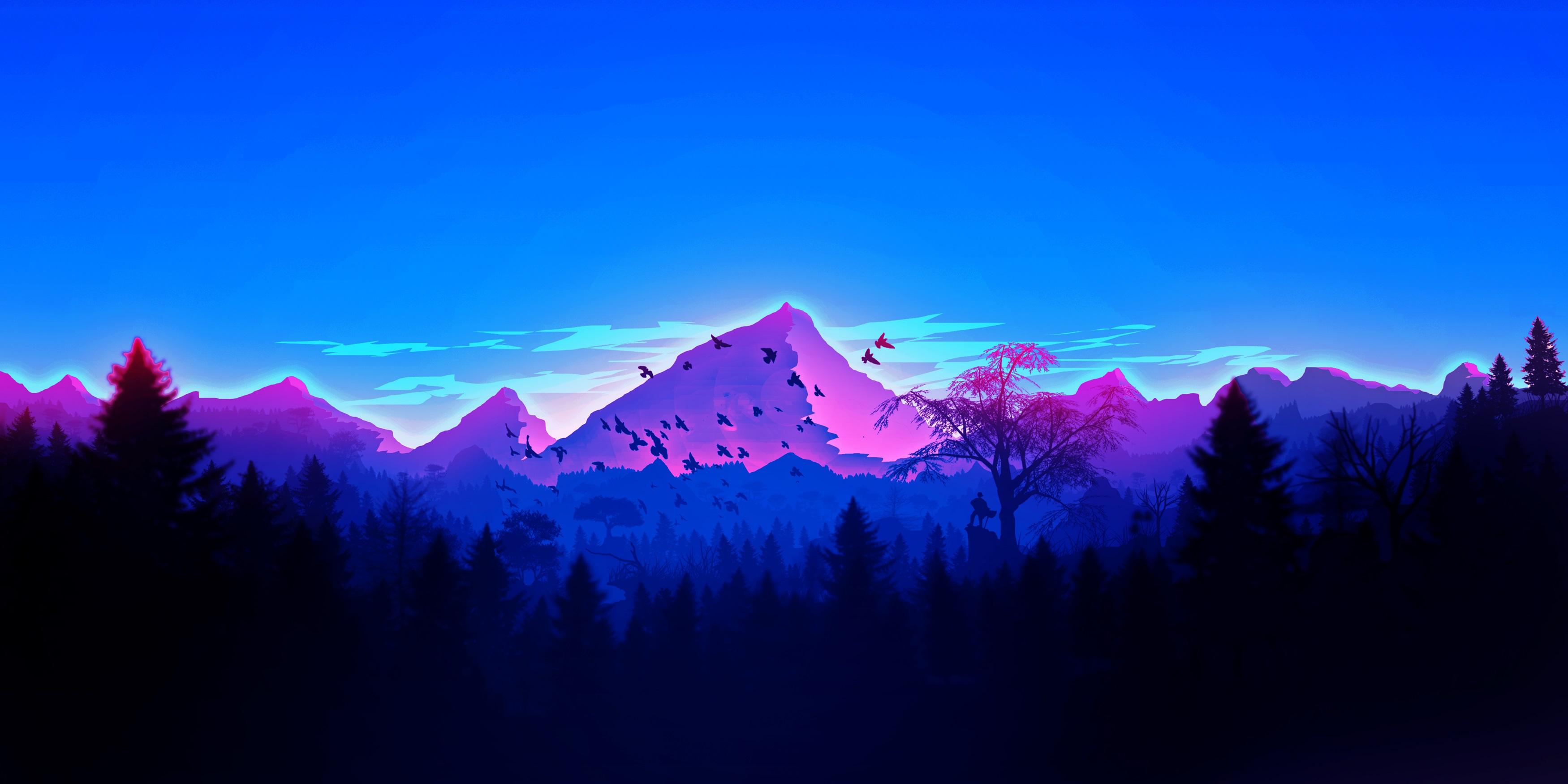 Forest Birds Mountains Vaporwave Minimalism, HD Artist, 4k ...