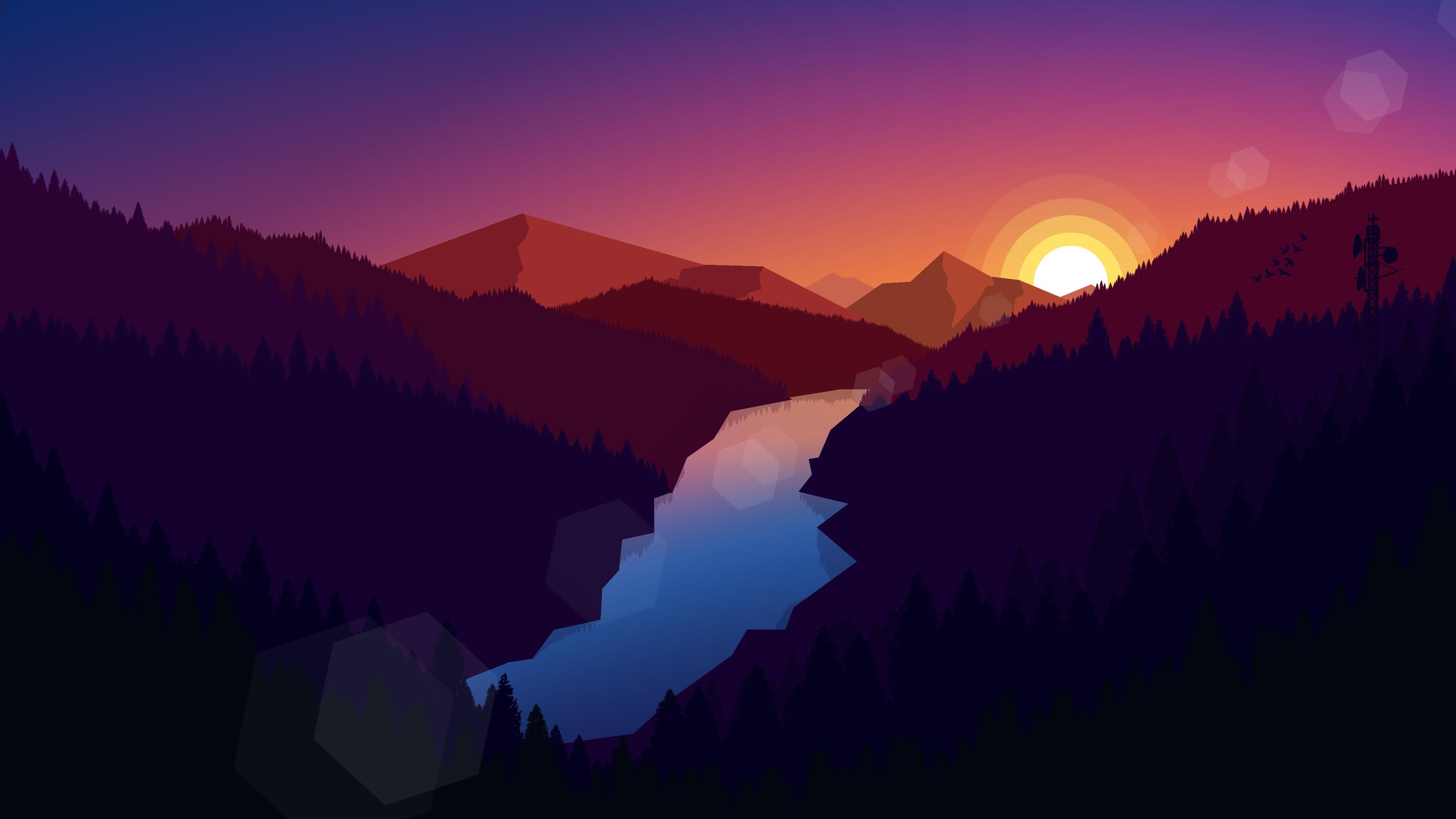 Forest Dark Evening Sunset Last Light Minimalistic, HD ...