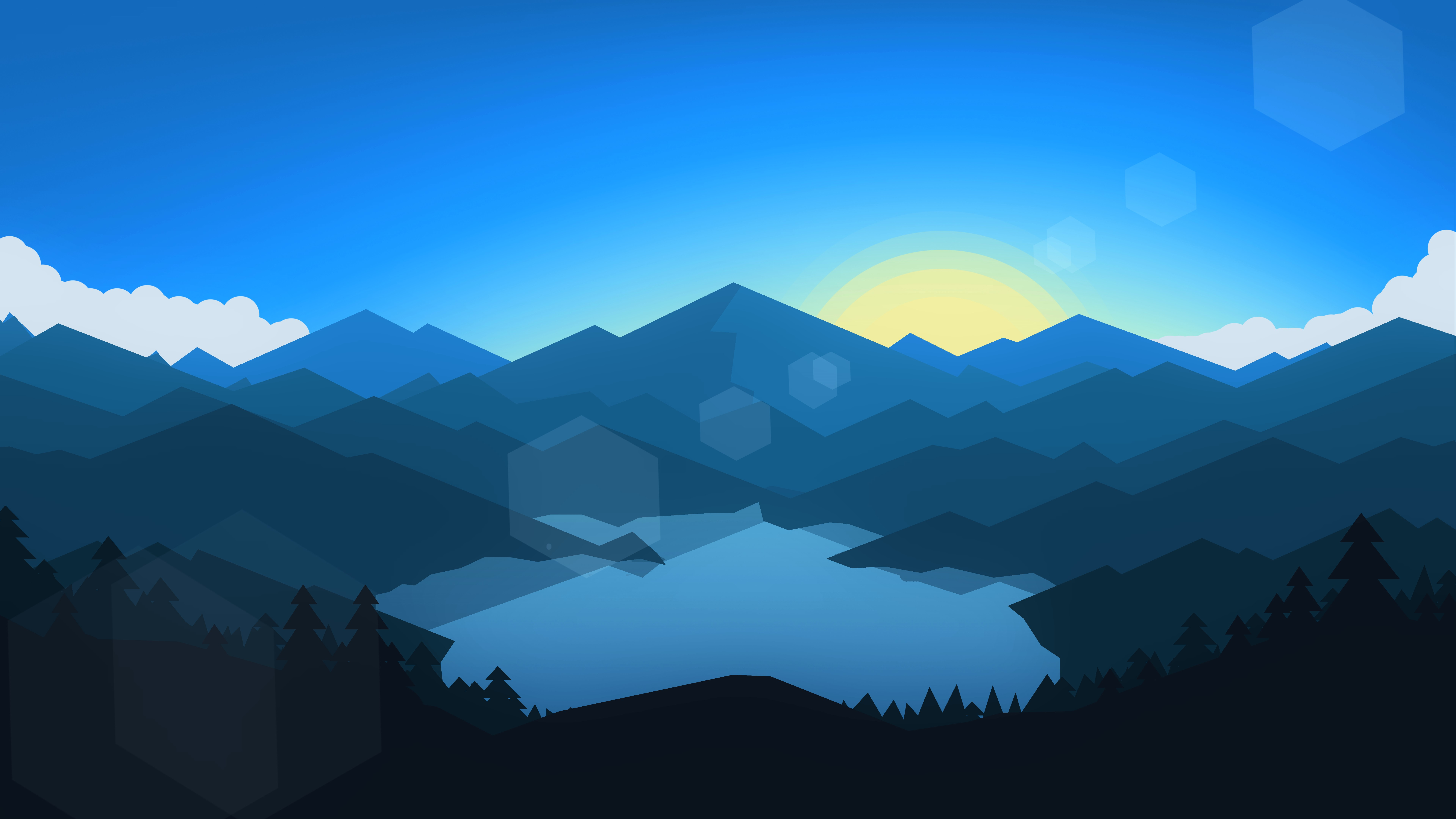 1366x768 forest mountains sunset cool weather minimalism 1366x768