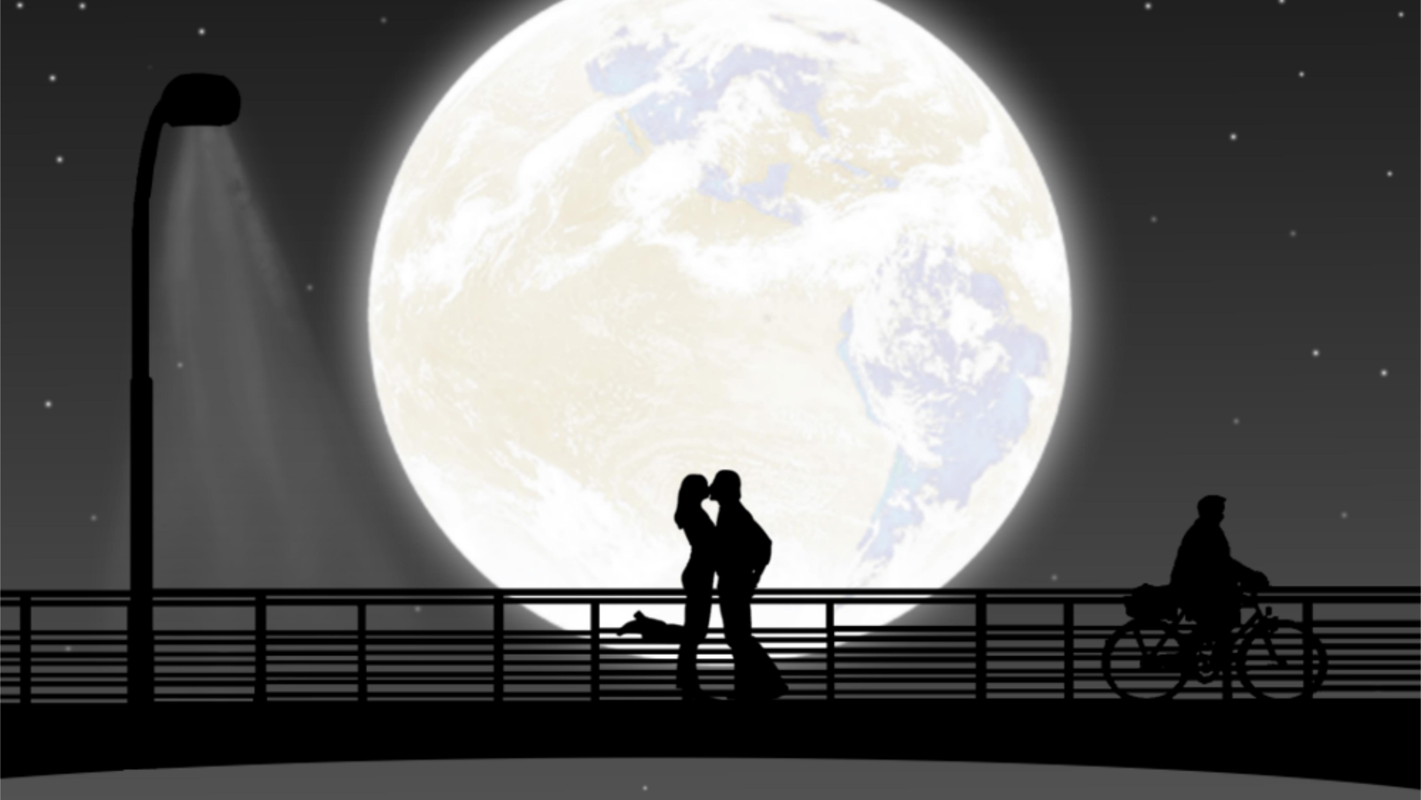 3840x2160 full moon night couple kiss 4k hd 4k wallpapers - 4k kiss wallpaper ...