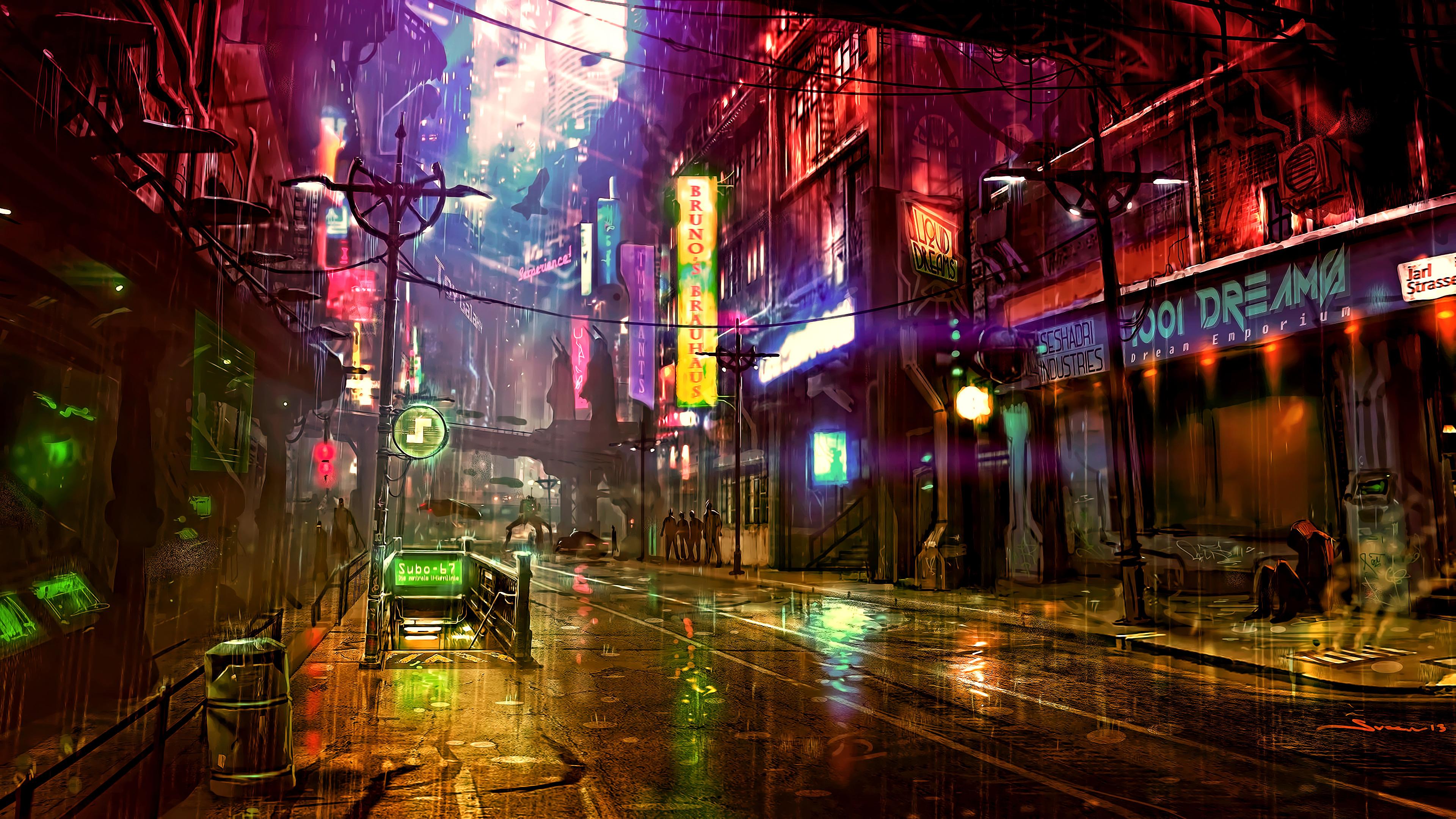 Futuristic City Cyberpunk Neon Street Digital Art 4k