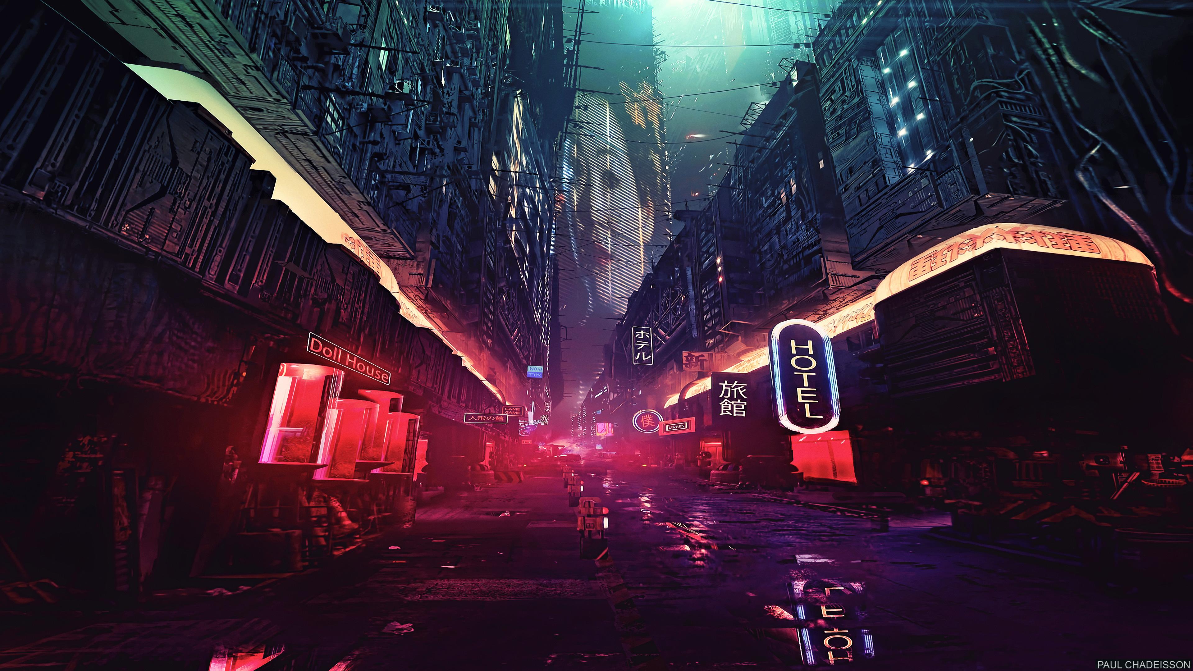 futuristic city science fiction concept art digital art, hd artist