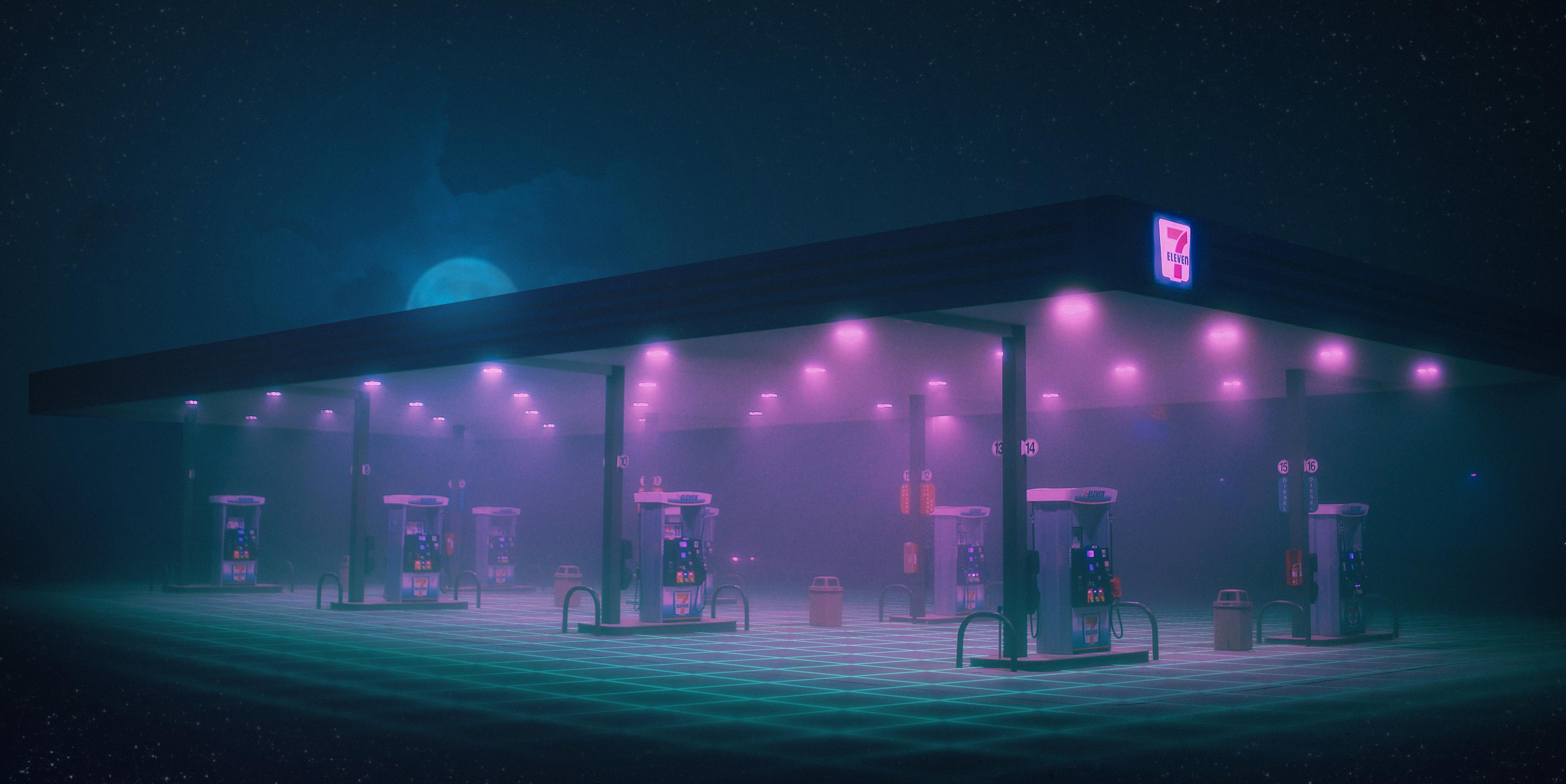 Gas Station Minimalist Hd Artist 4k Wallpapers Images