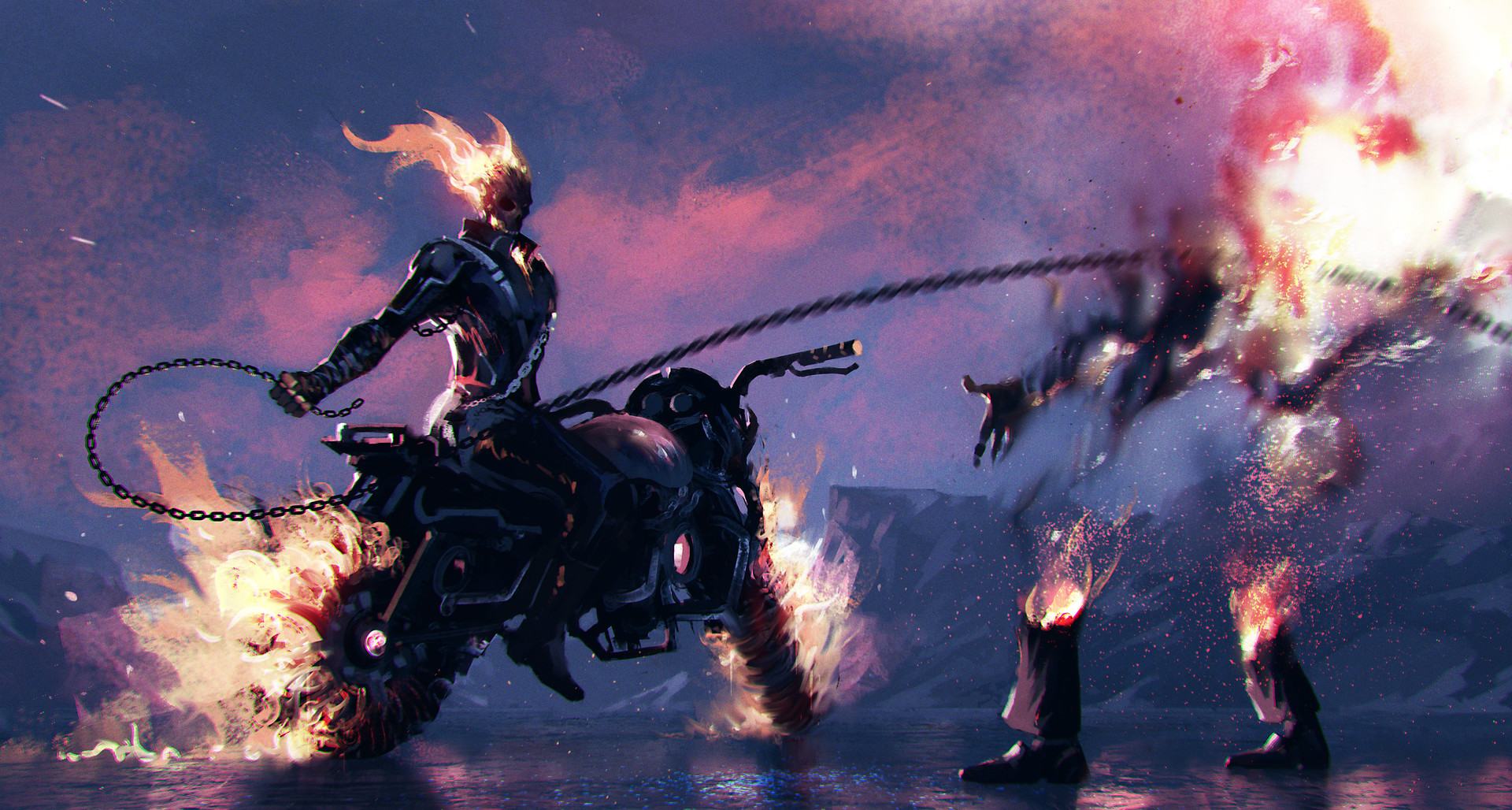 Ghost Rider Digital Art, HD Superheroes, 4k Wallpapers ...  |Ghost Rider Digital Painting Photoshop