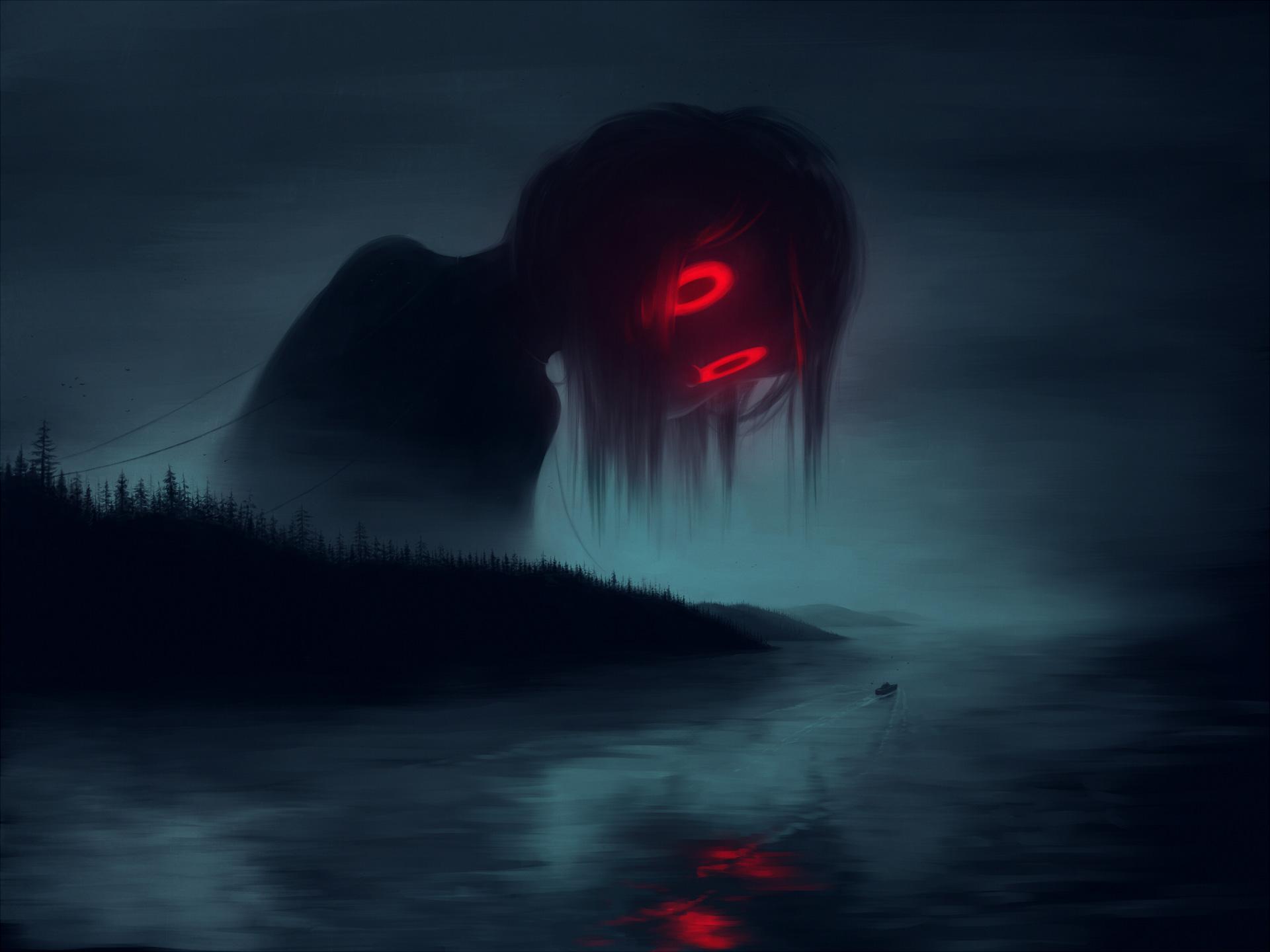 Giant Girl With Big Red Eyes Artwork Hd Artist 4k