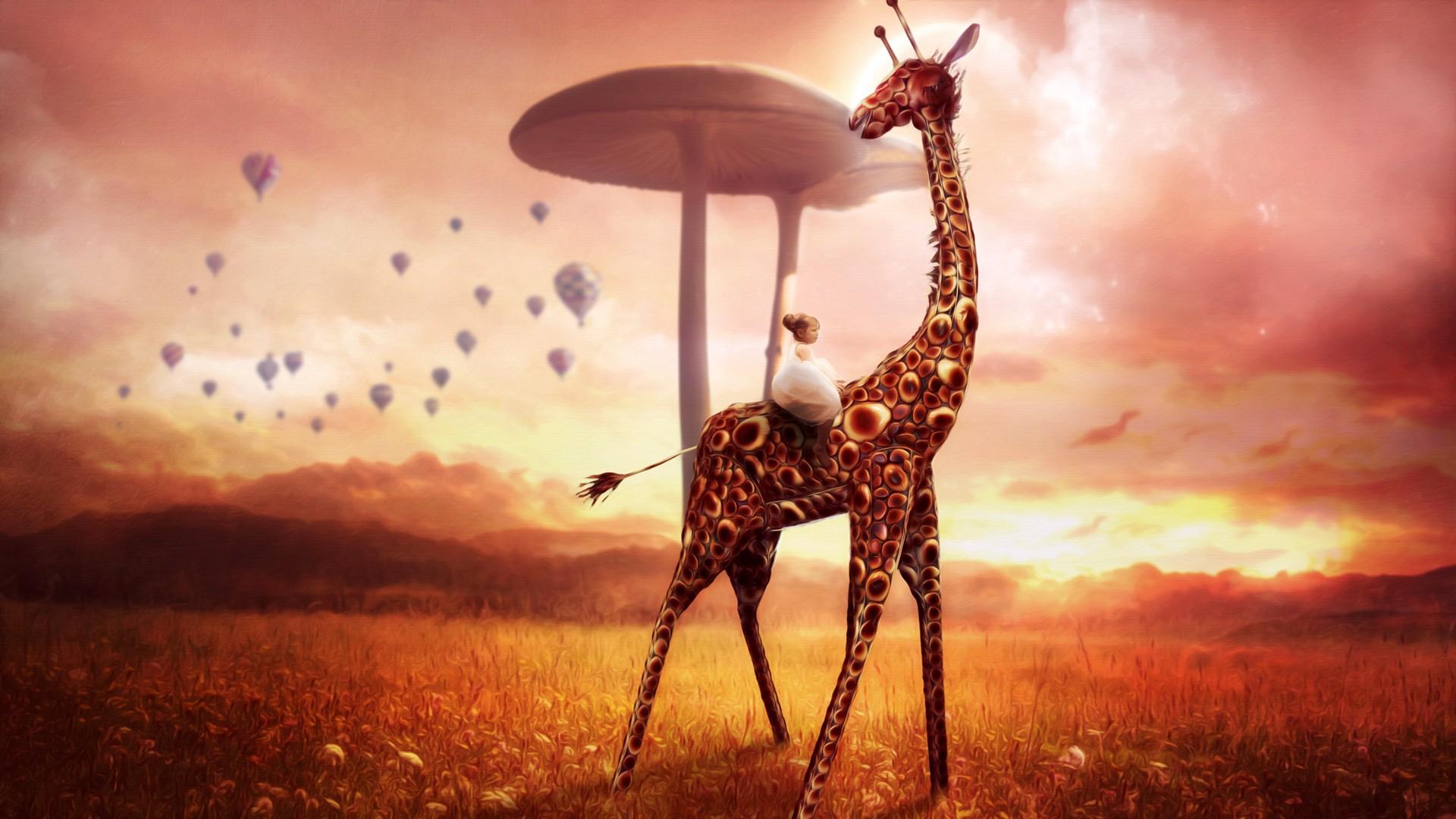 Giraffe Dream Fantasy HD Artist 4k Wallpapers Images Backgrounds