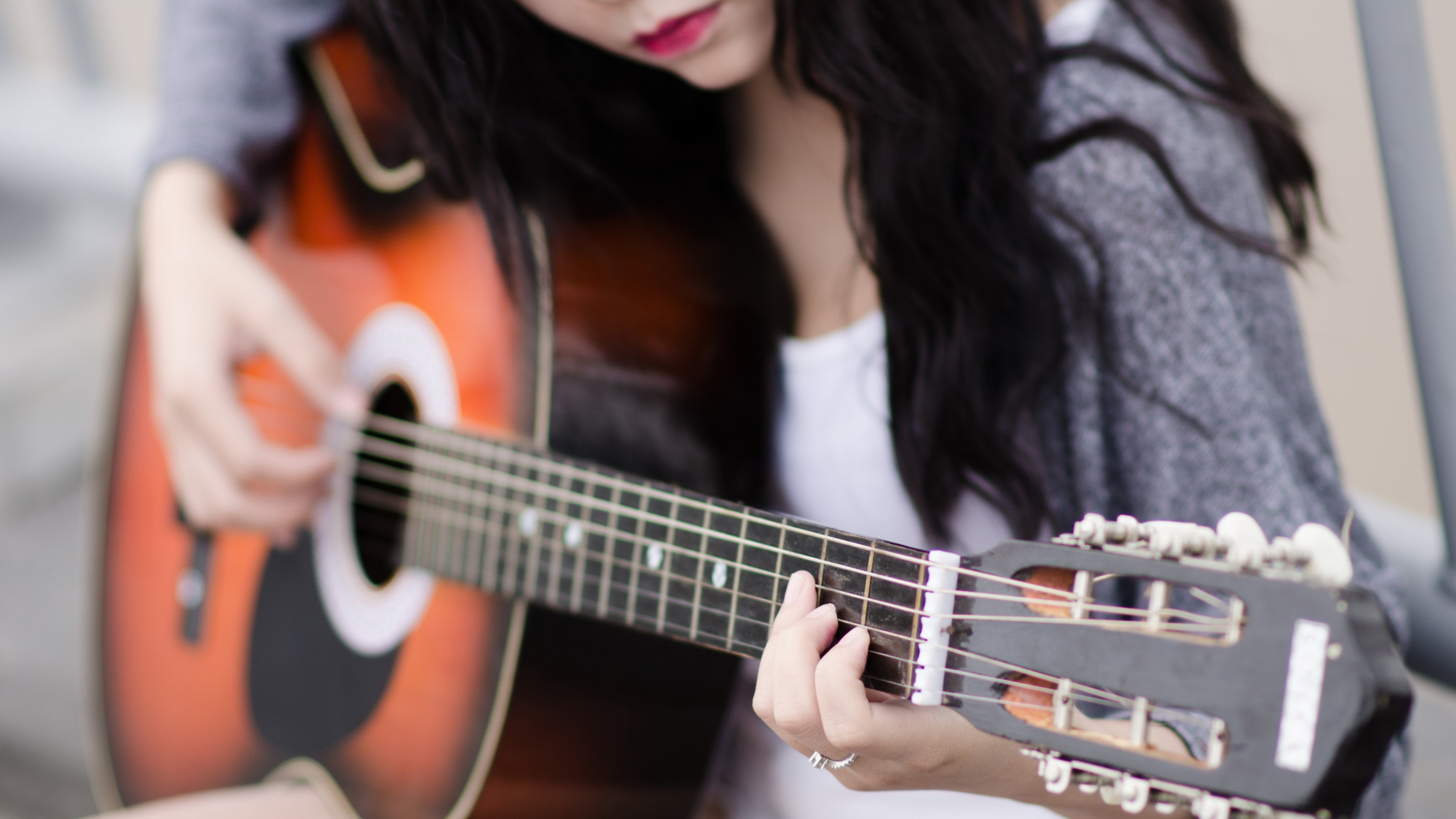 girl playing guitar, hd music, 4k wallpapers, images, backgrounds