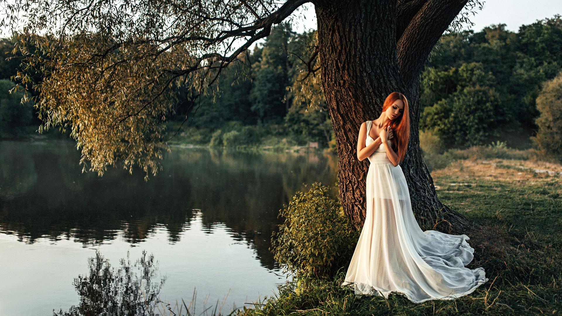 Girl Standing Alone Near Tree, Hd Girls, 4K Wallpapers -3960