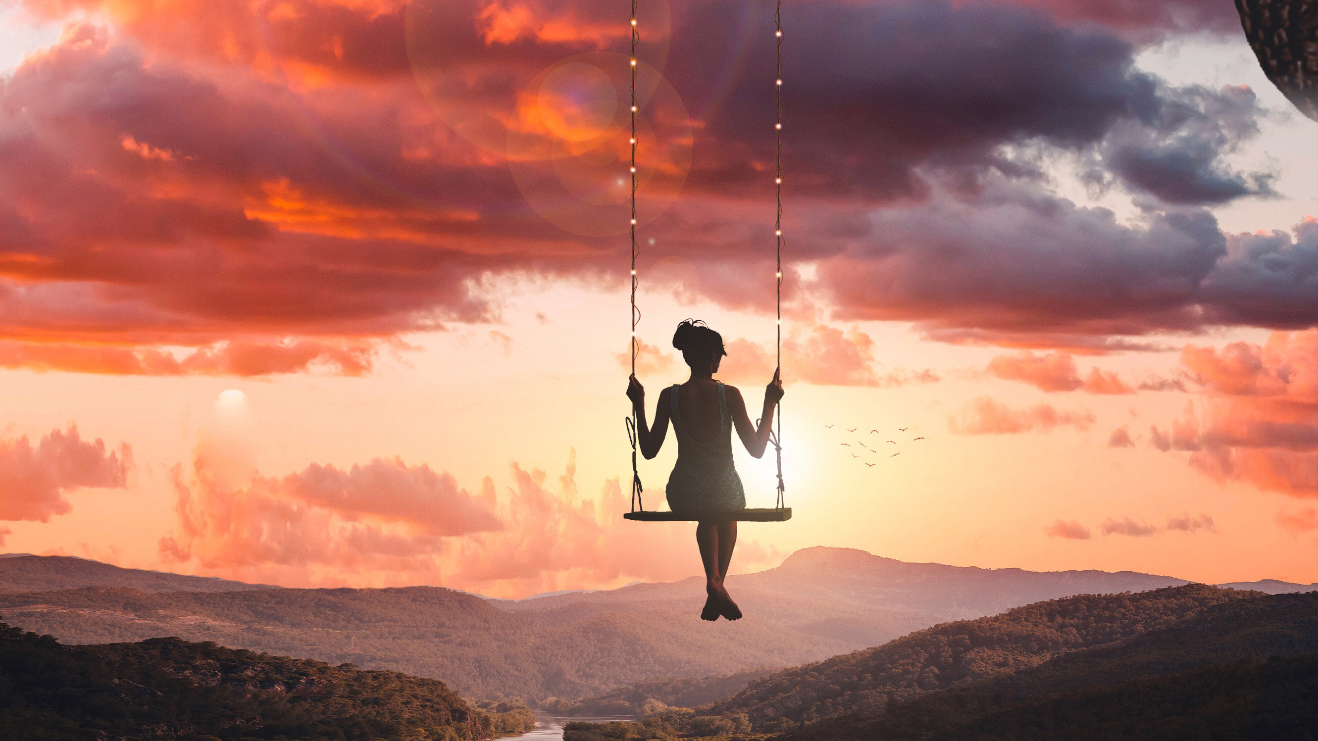 Girl swinging on top of world hd photography 4k wallpapers images backgrounds photos and - On top of the world wallpaper ...