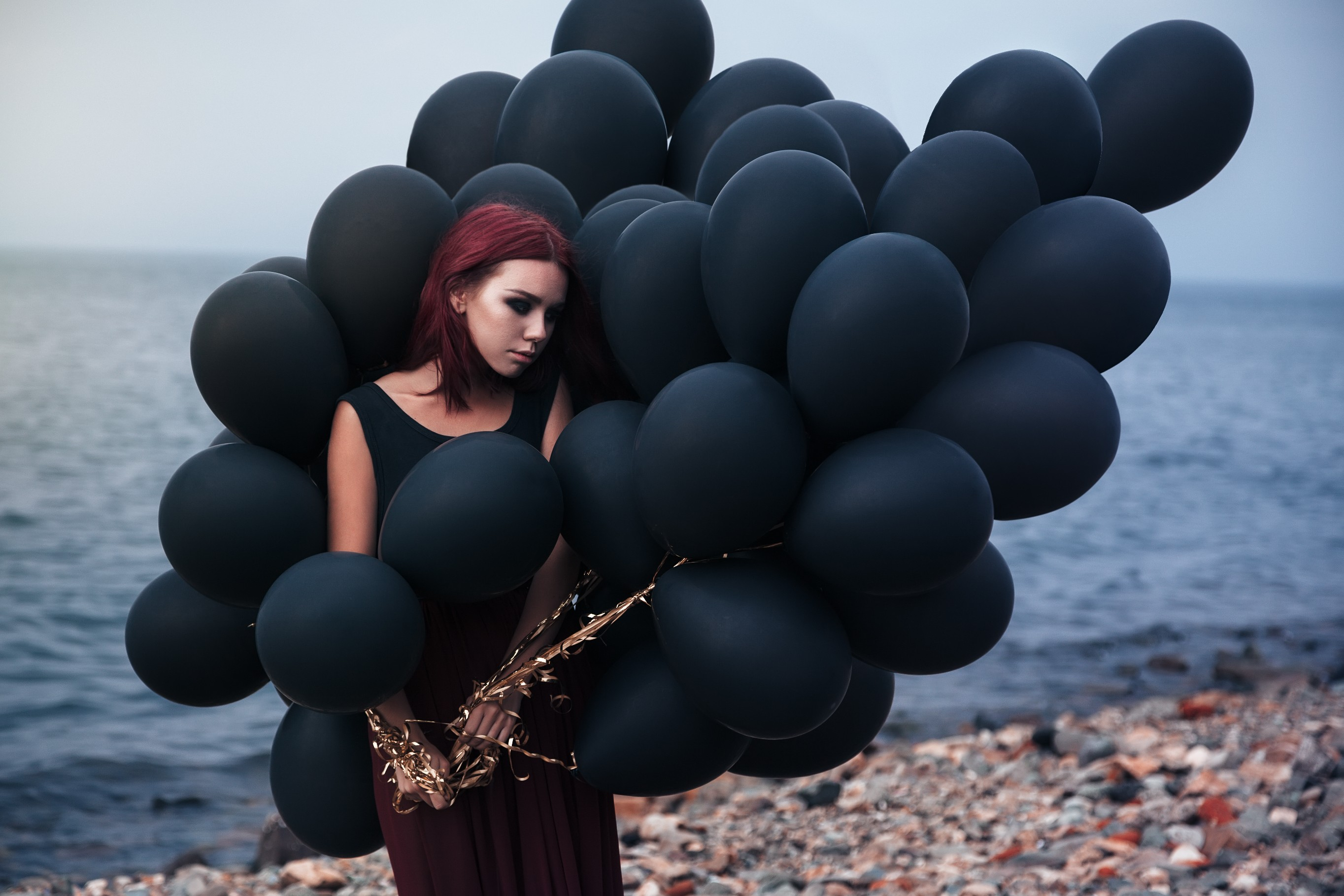 Girl With Black Ballons