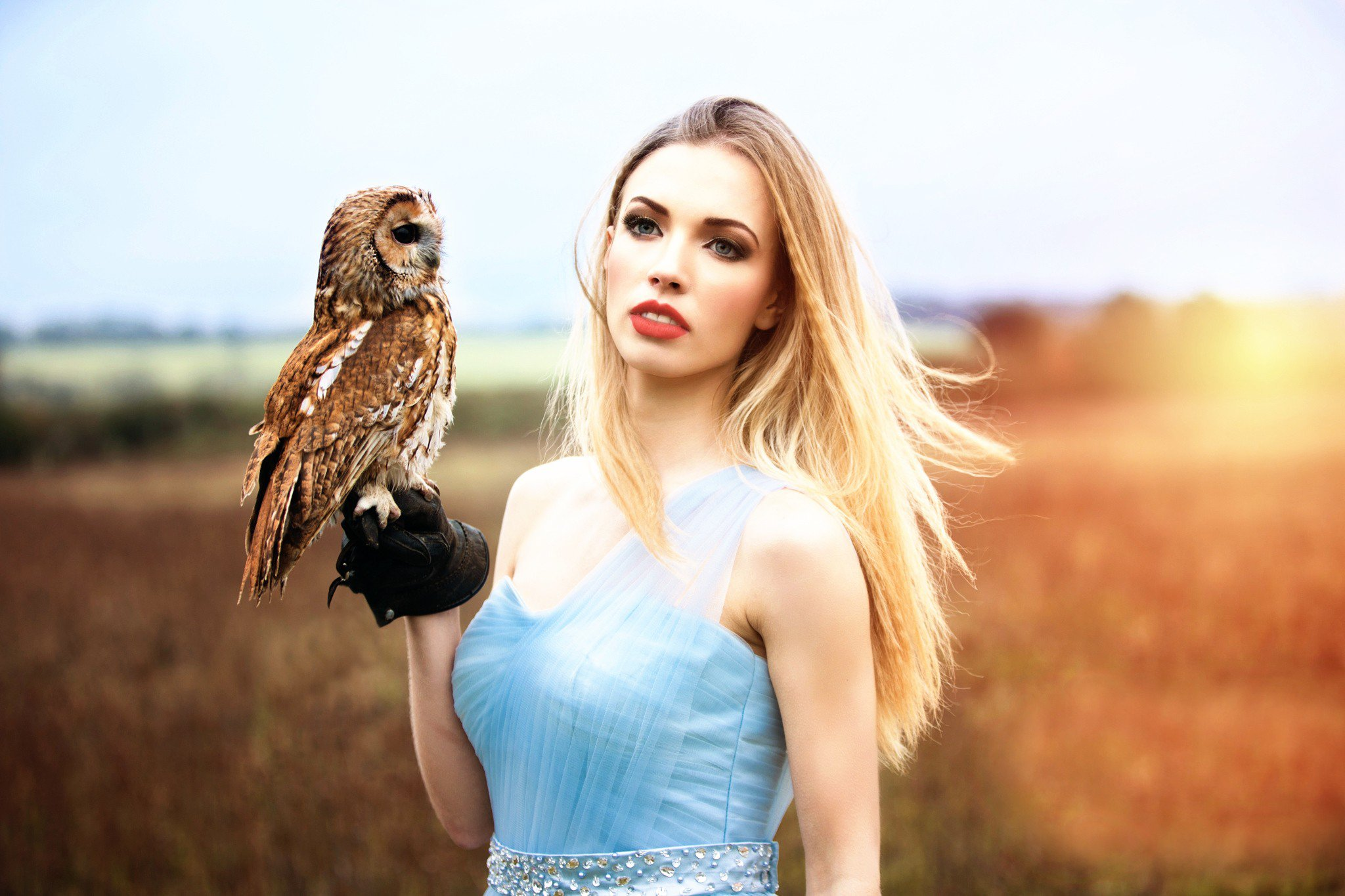 girl with owl hd, hd girls, 4k wallpapers, images, backgrounds