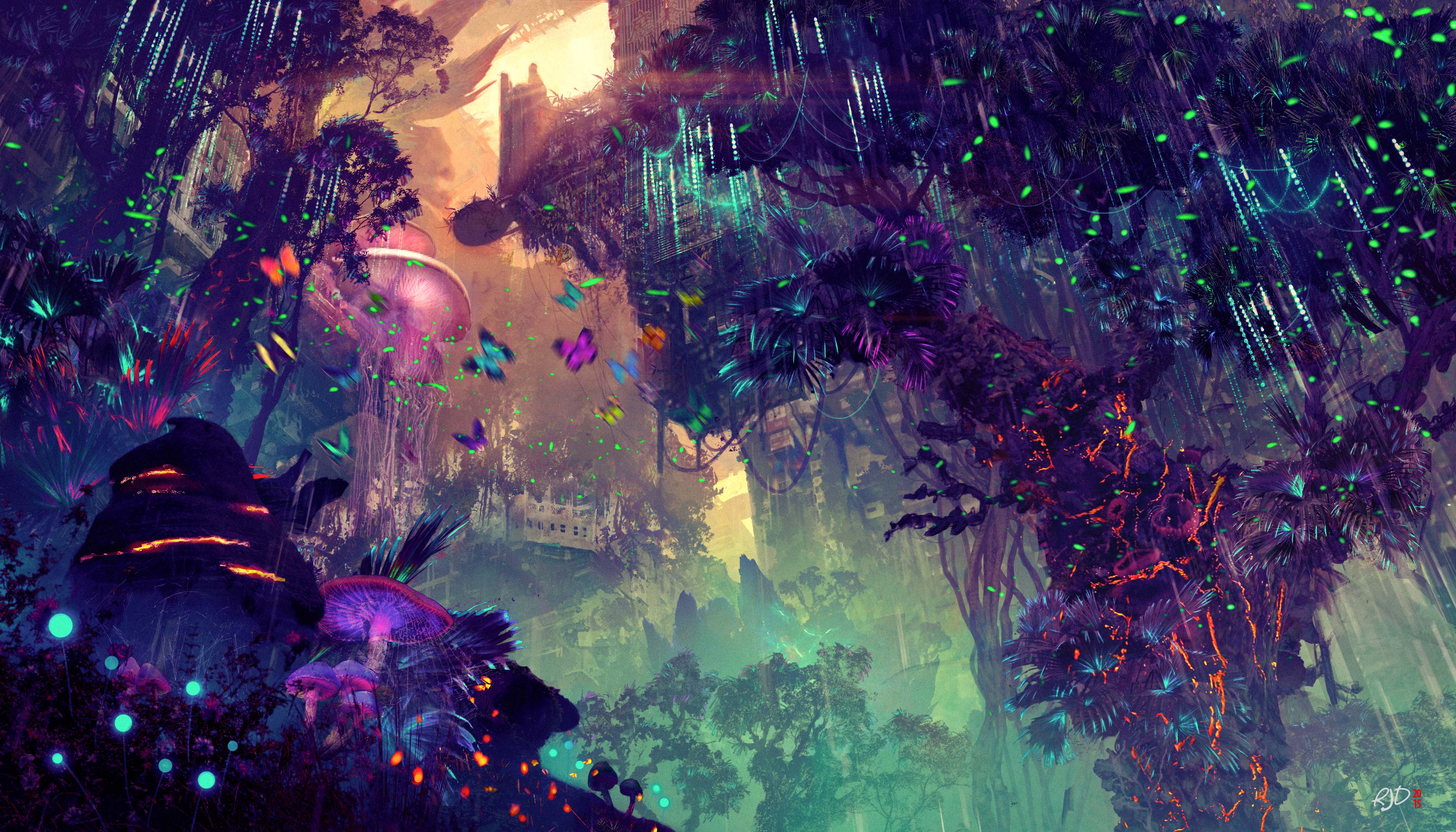 Glowing Forest Colorful Digital Drawing 4k Hd Artist 4k