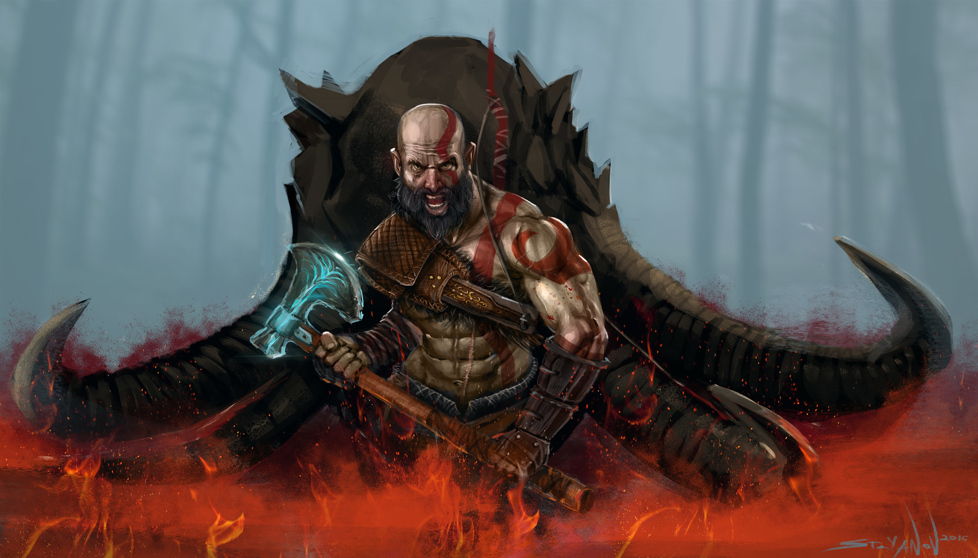 god of war 4 art 480x854 resolution