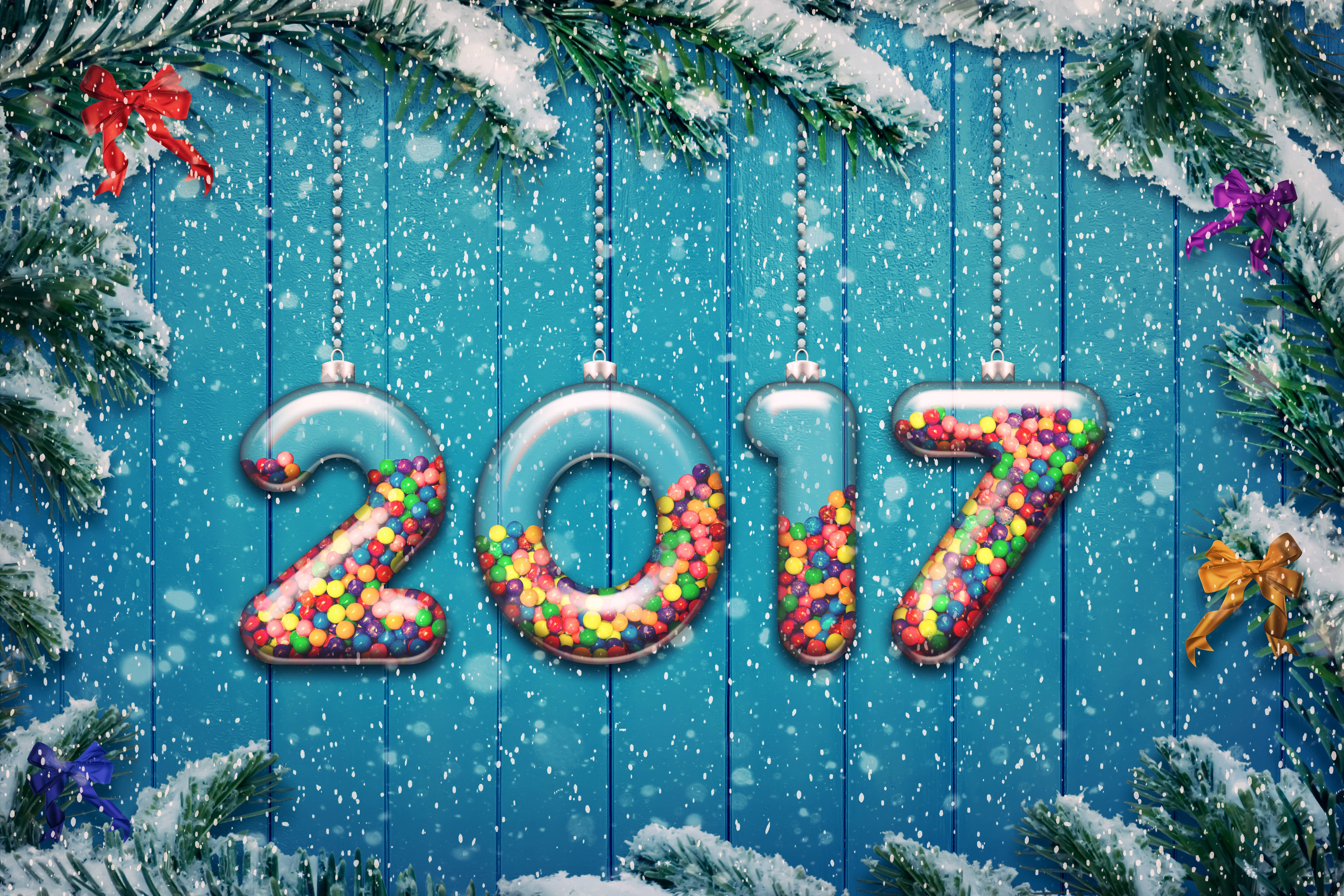 Happy New Year 2017 8k IPhone 4 4S