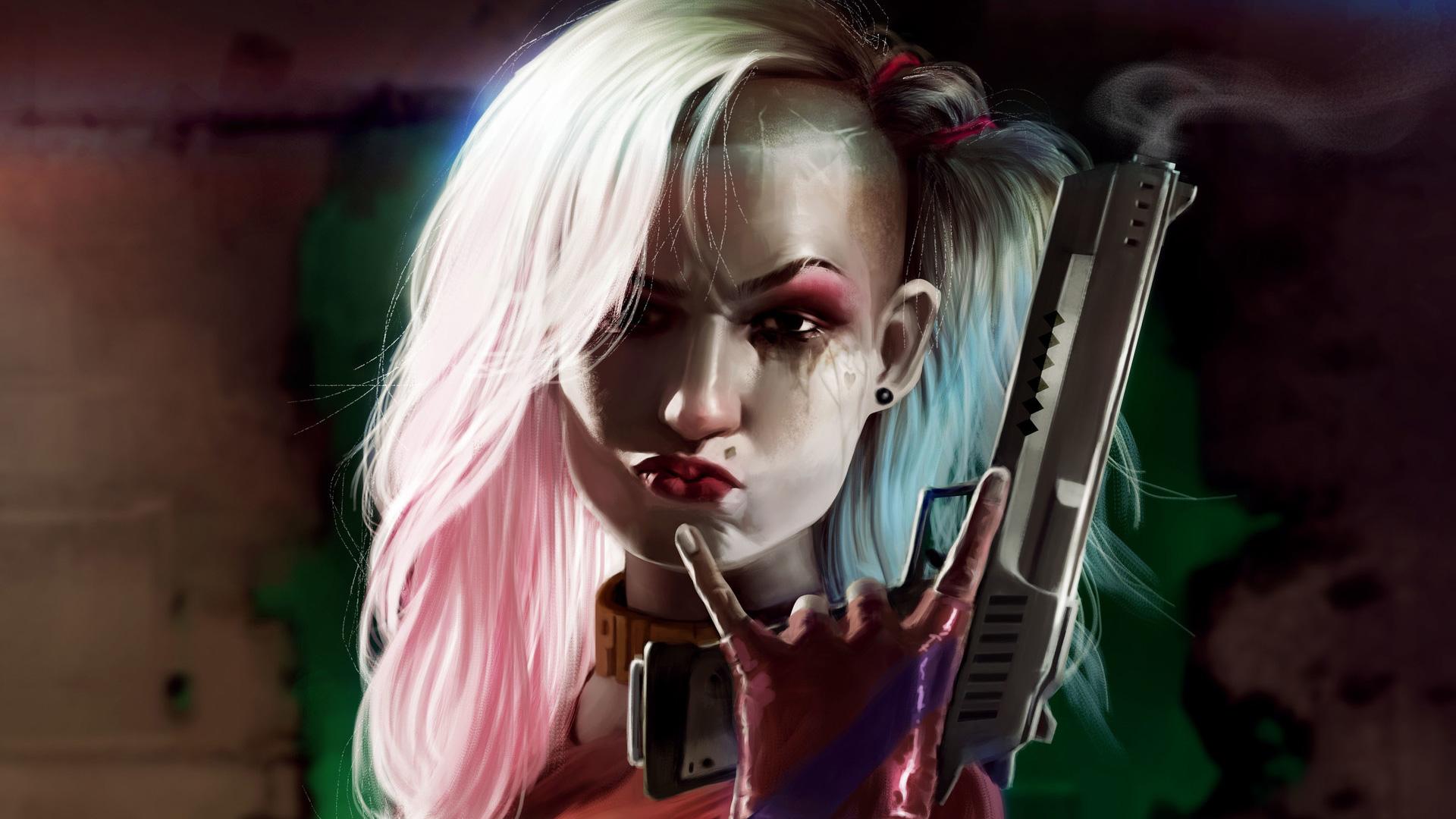Harley Quinn Cool Gun Art  Hd Superheroes  4k Wallpapers