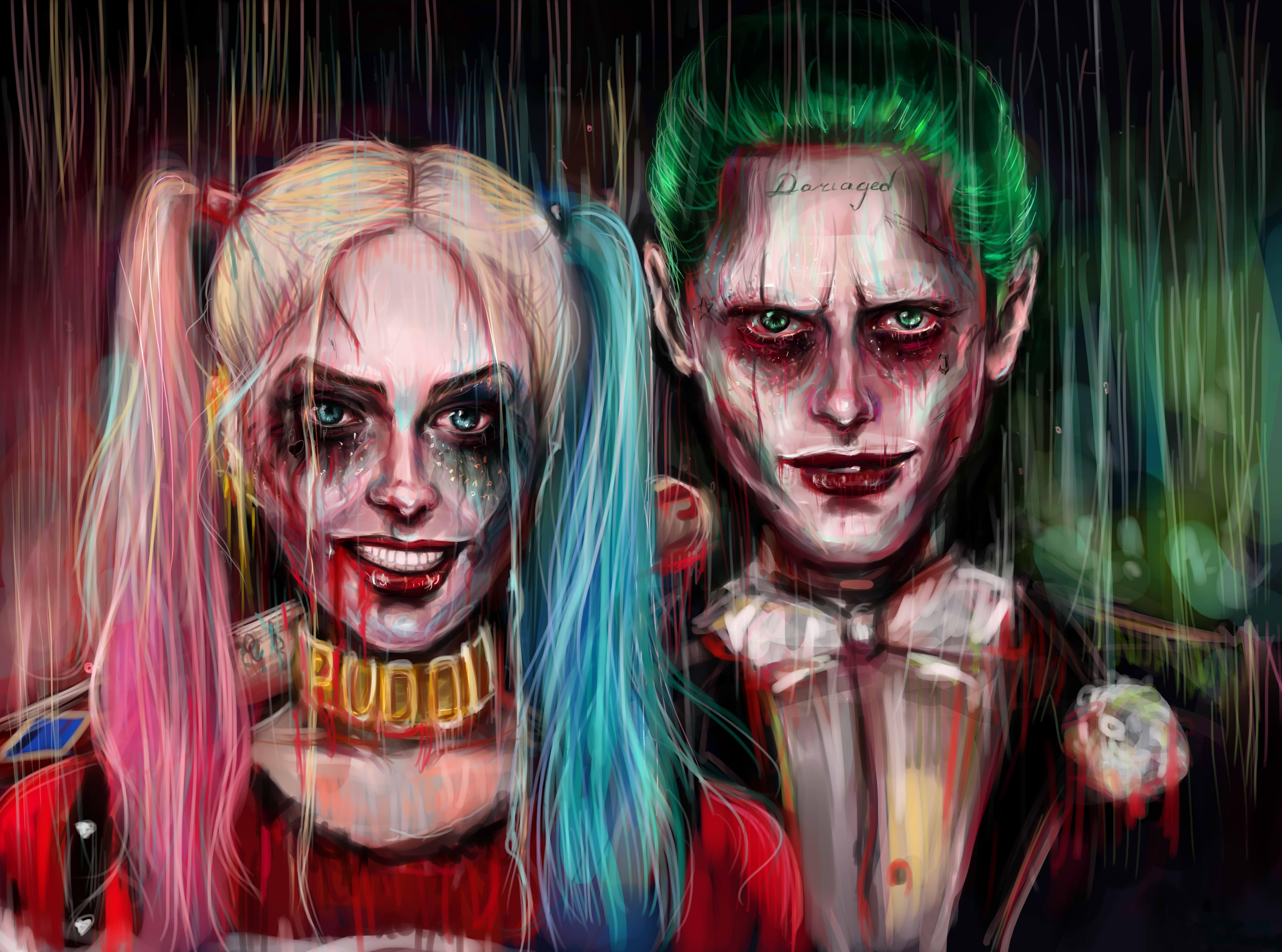 Harley Quinn Joker Painting Artwork 4k 5k, HD Artist, 4k