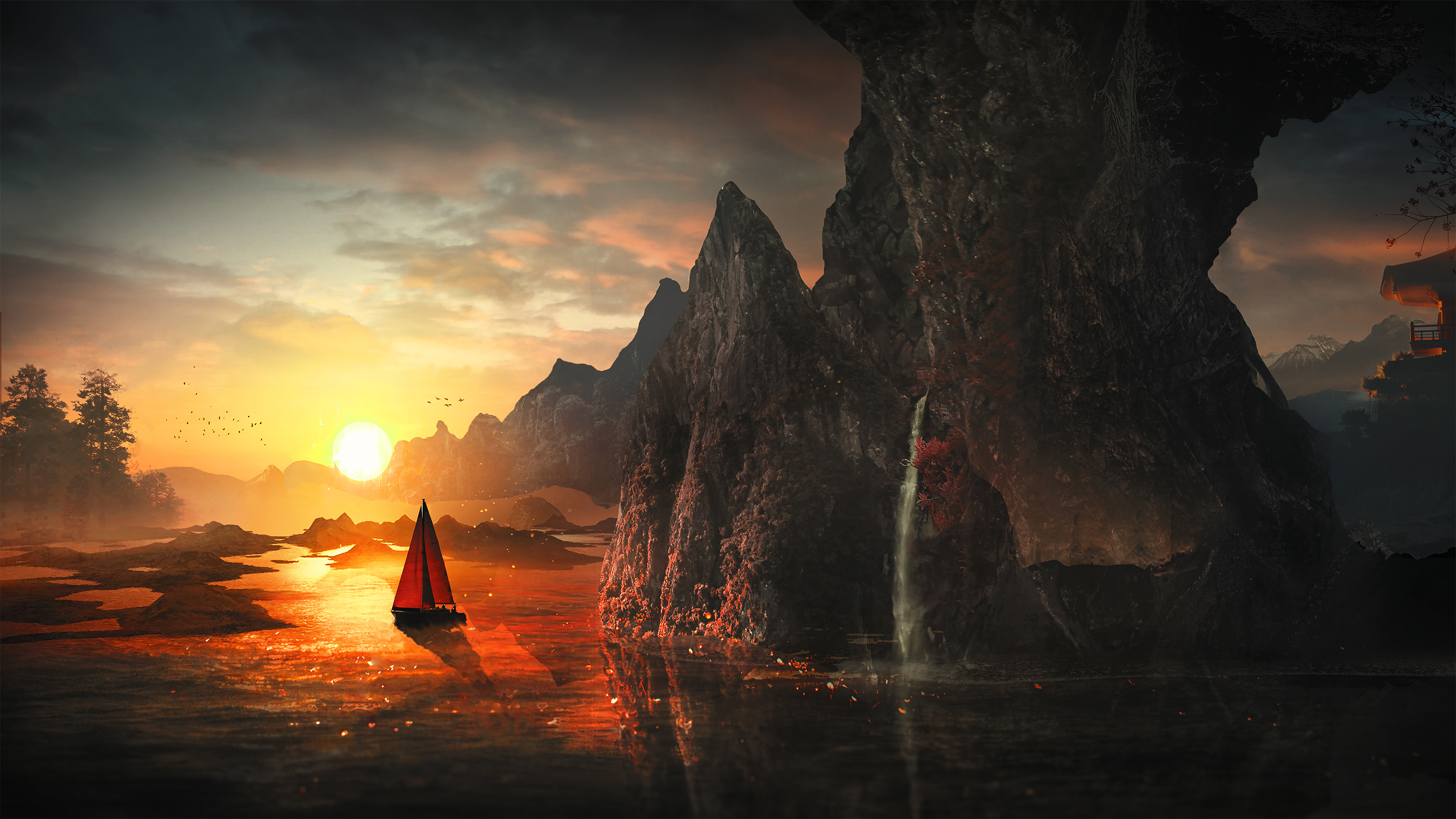 harmony boat creative background hd artist 4k wallpapers images