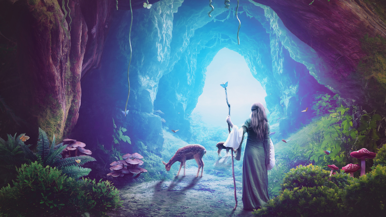 Heaven cave girl deer fantasy art hd artist 4k - Fantasy wallpaper digital art ...