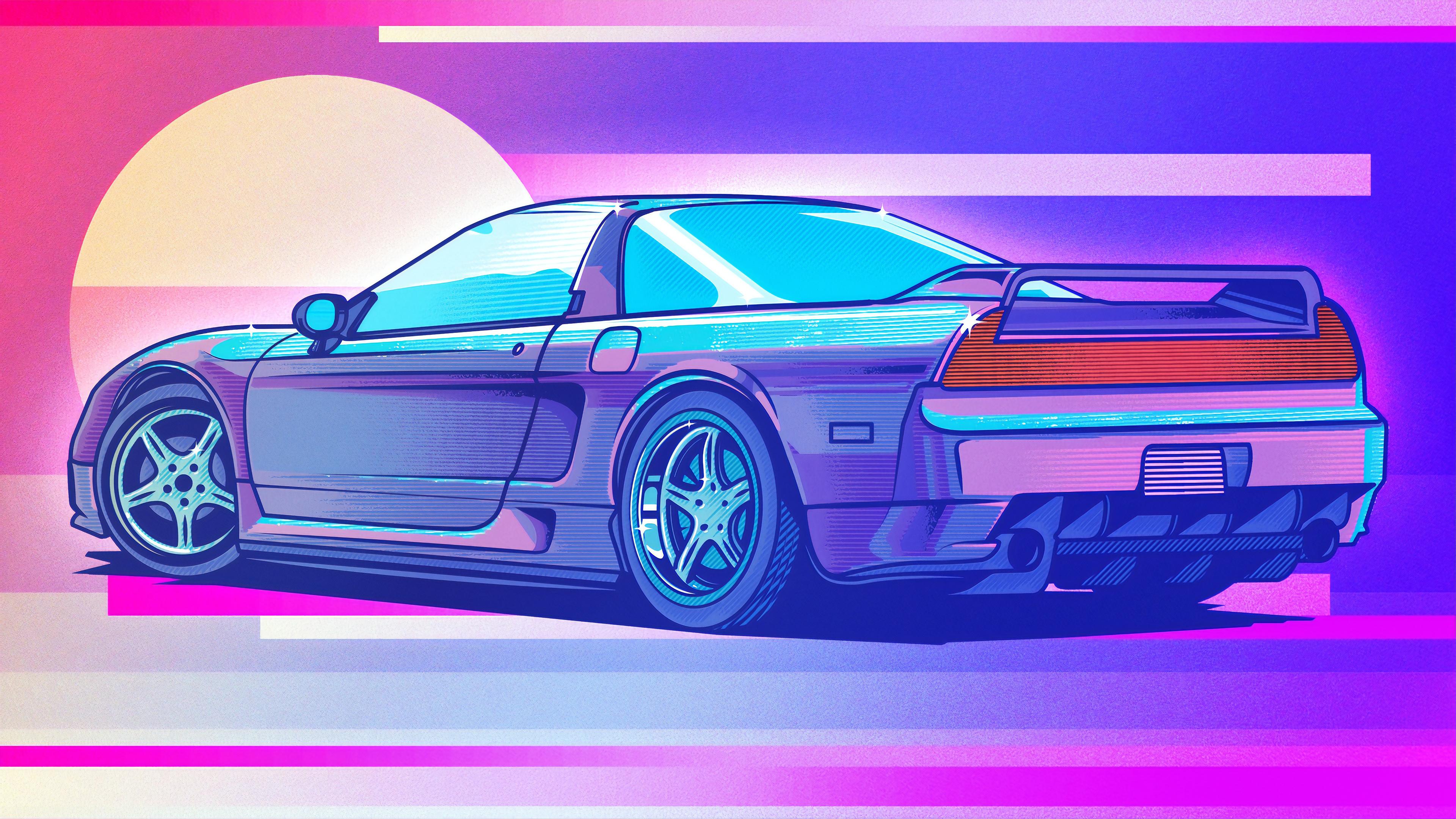 Honda Nsx Retrowave Art 4k Hd Cars 4k Wallpapers Images