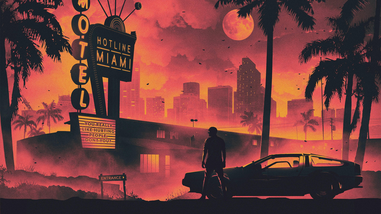 Hotline Miami Game Retro Style Dark Life Cityscape 5k Hd