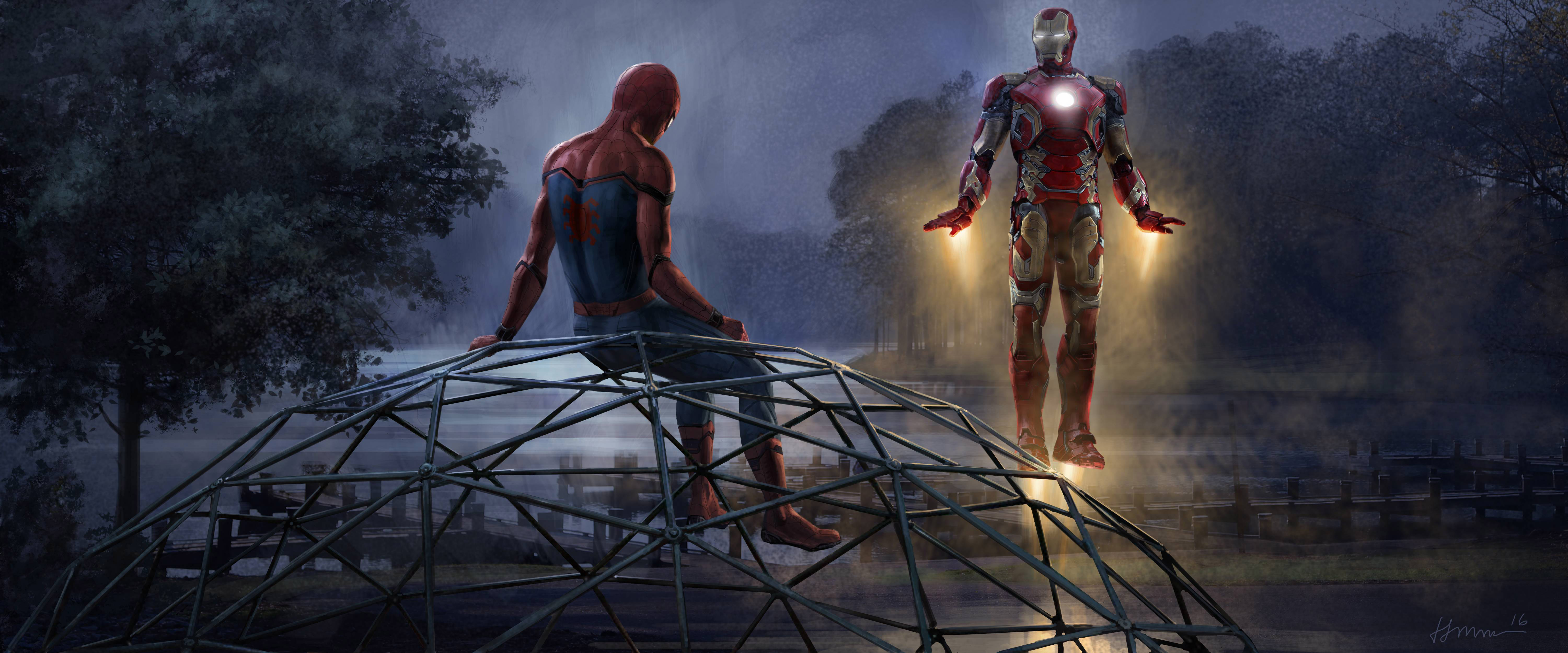 iron man and spiderman 5k artwork, hd movies, 4k wallpapers, images