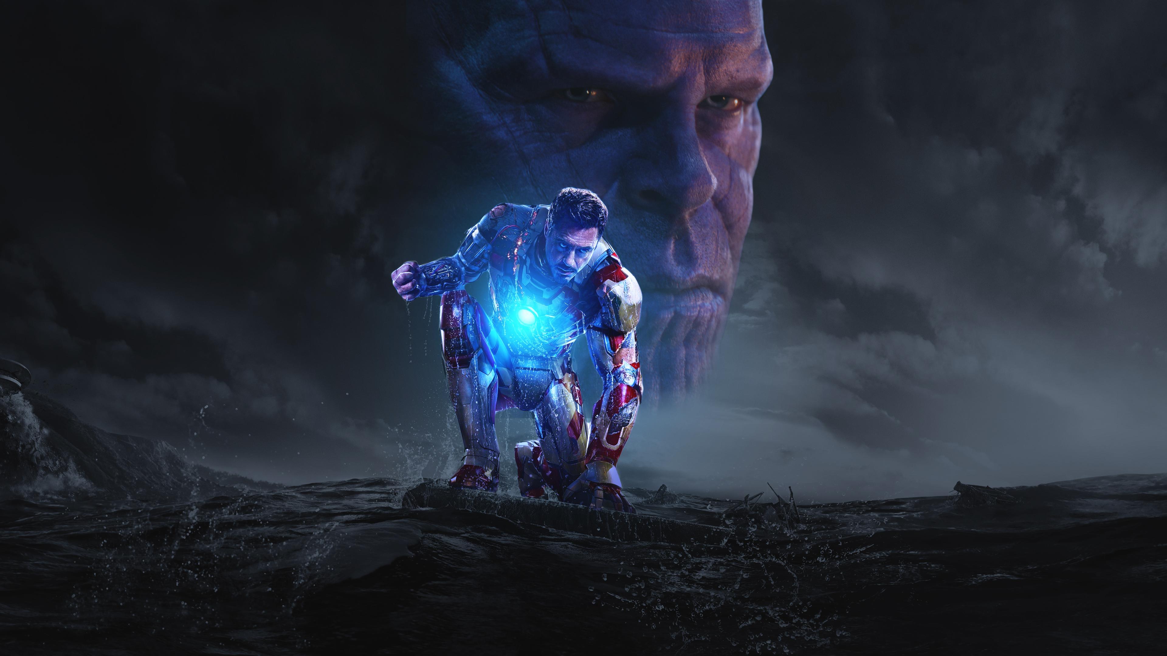 Wallpaper Thanos Avengers Infinity War Artwork Hd: Iron Man And Thanos In Avengers Infinity War, HD