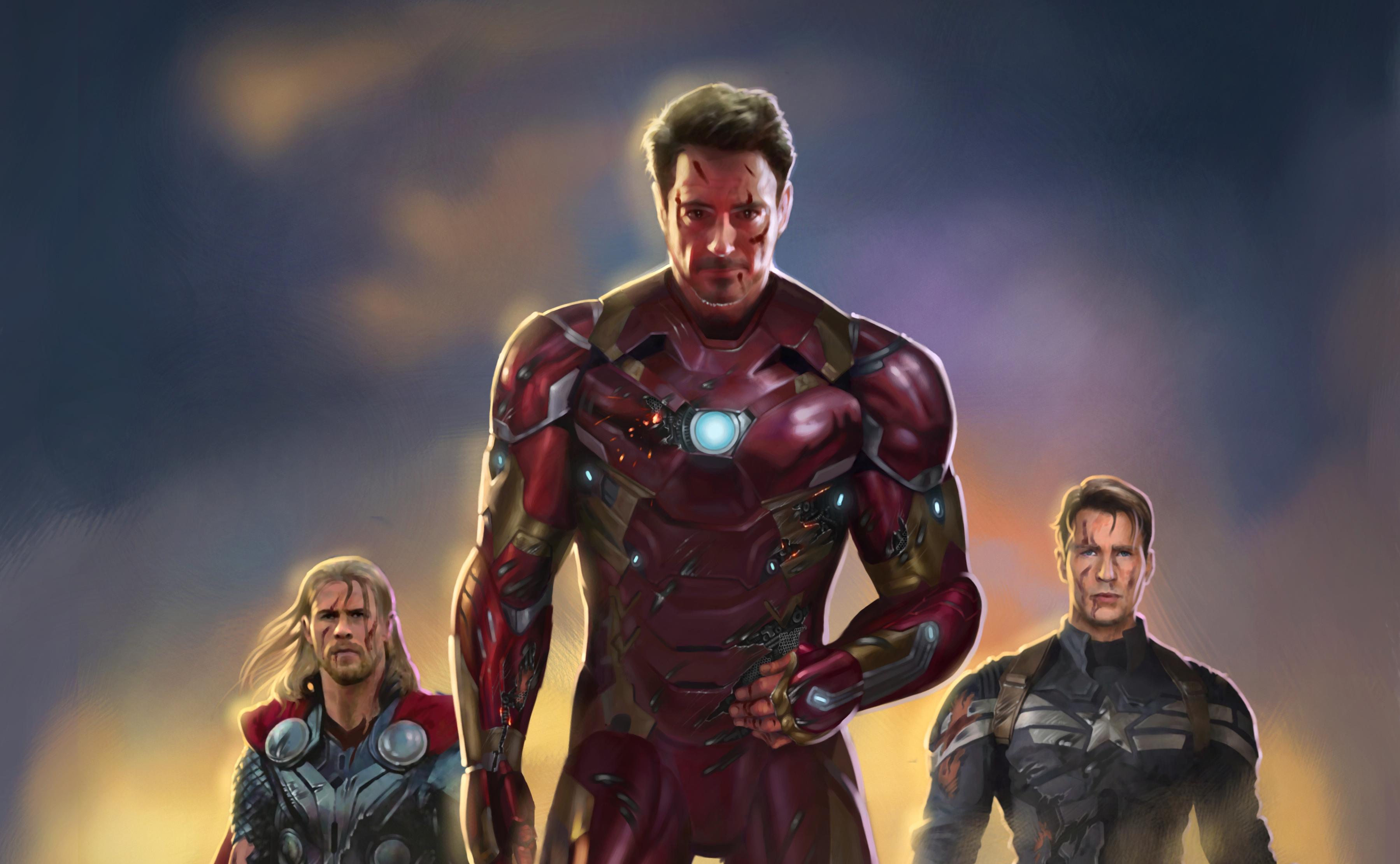 iron man captain america thor fan art, hd superheroes, 4k wallpapers